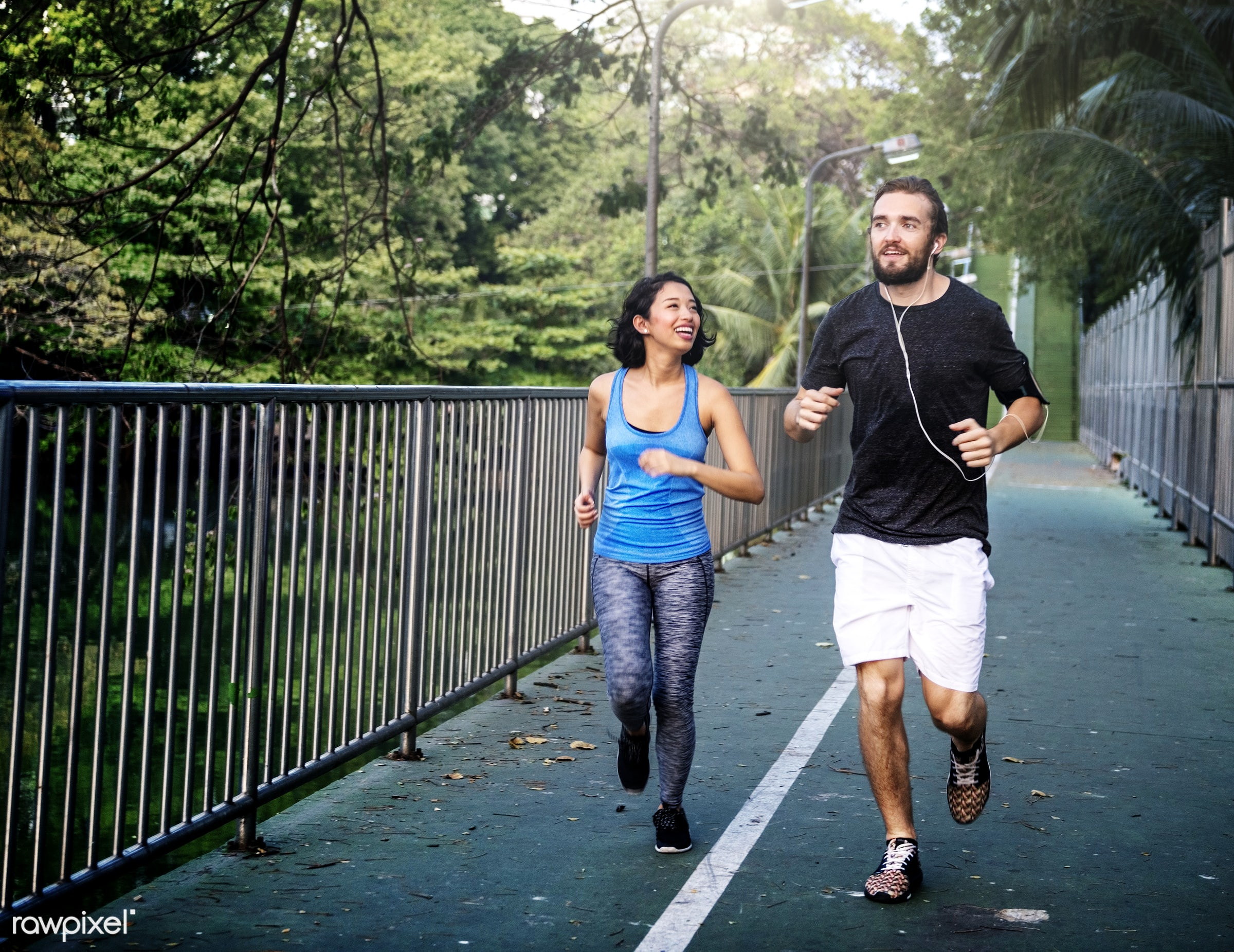 Couple jogging together - jogging, running, active, adult, asian, athlete, athletic, attractive, boyfriend, couple, exercise...