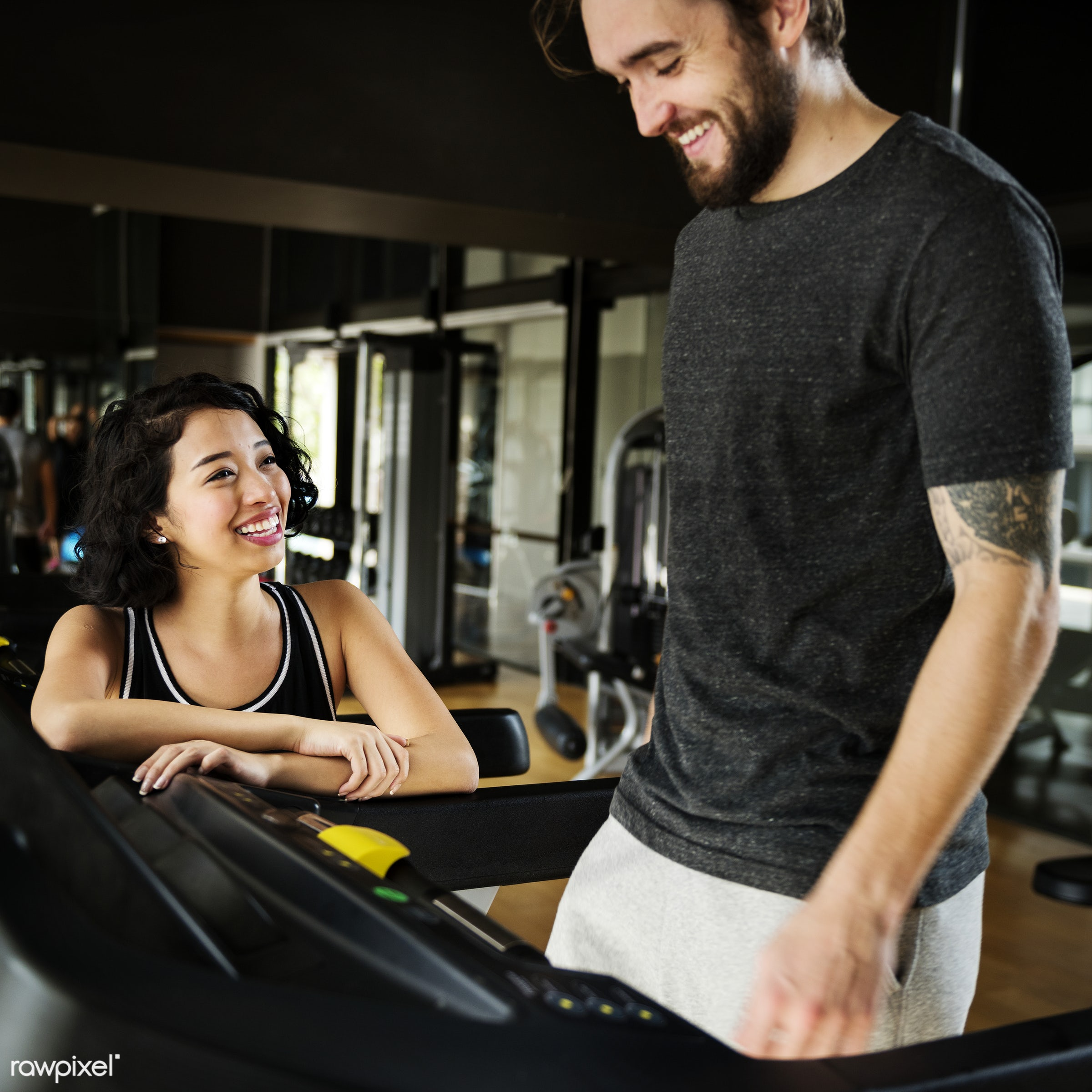 Couple working out together in the gym - gym, active, adult, asian, assistance, athlete, athletic, attractive, body,...