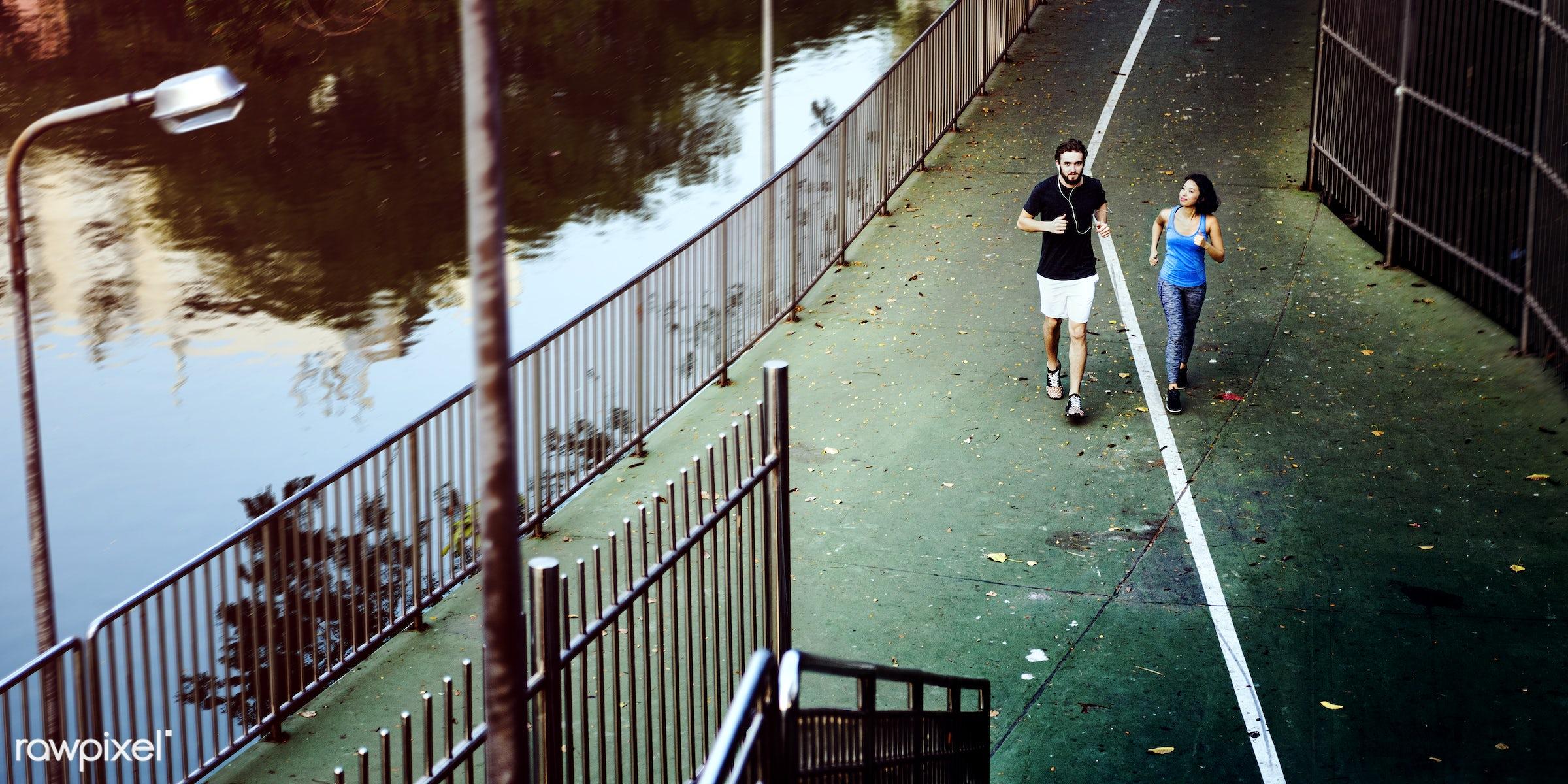 jogging, active, adult, athlete, athletic, attractive, boyfriend, couple, exercise, female, fit, friends, girlfriend,...