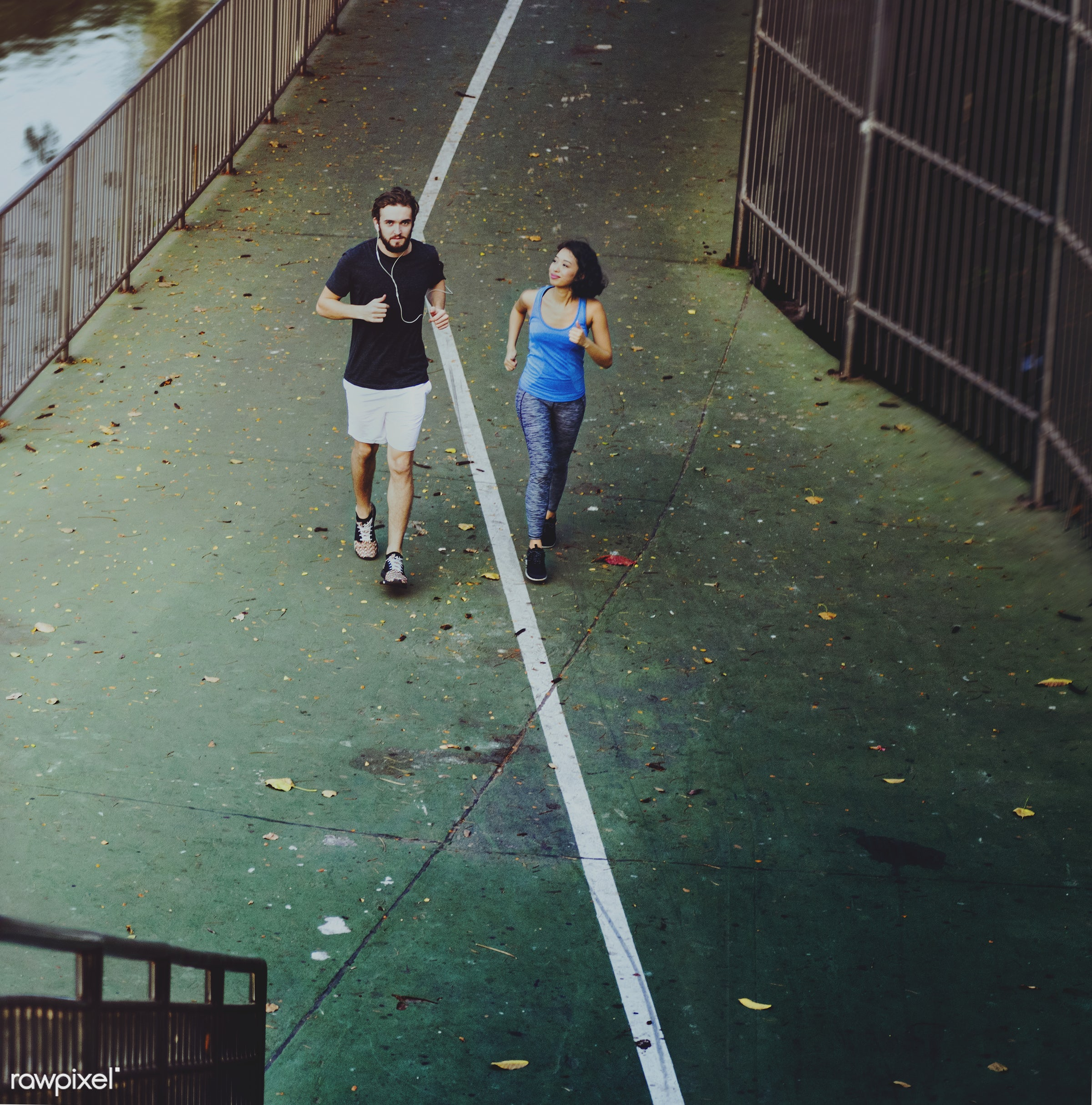 Couple jogging together - active, adult, athlete, athletic, attractive, boyfriend, couple, exercise, female, fit, friends,...