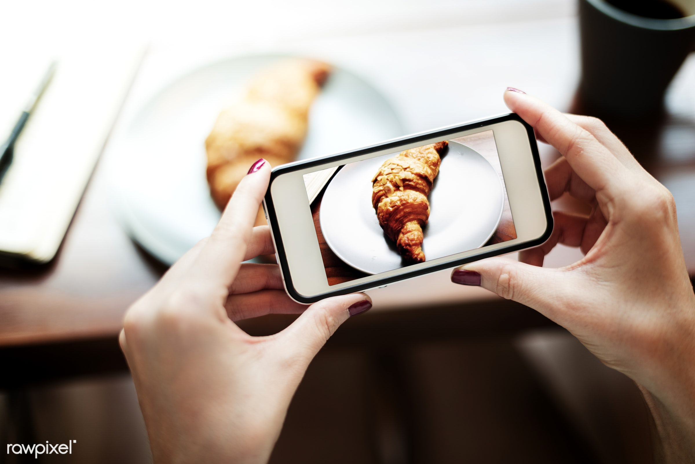 snap, shot, photography, hands, capture, mobile phone, showing, baking, closeup, screen, leisure, photo, taking, croissant,...