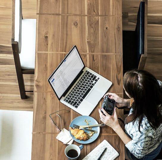 Woman Photographer Connection Laptop Working Concept
