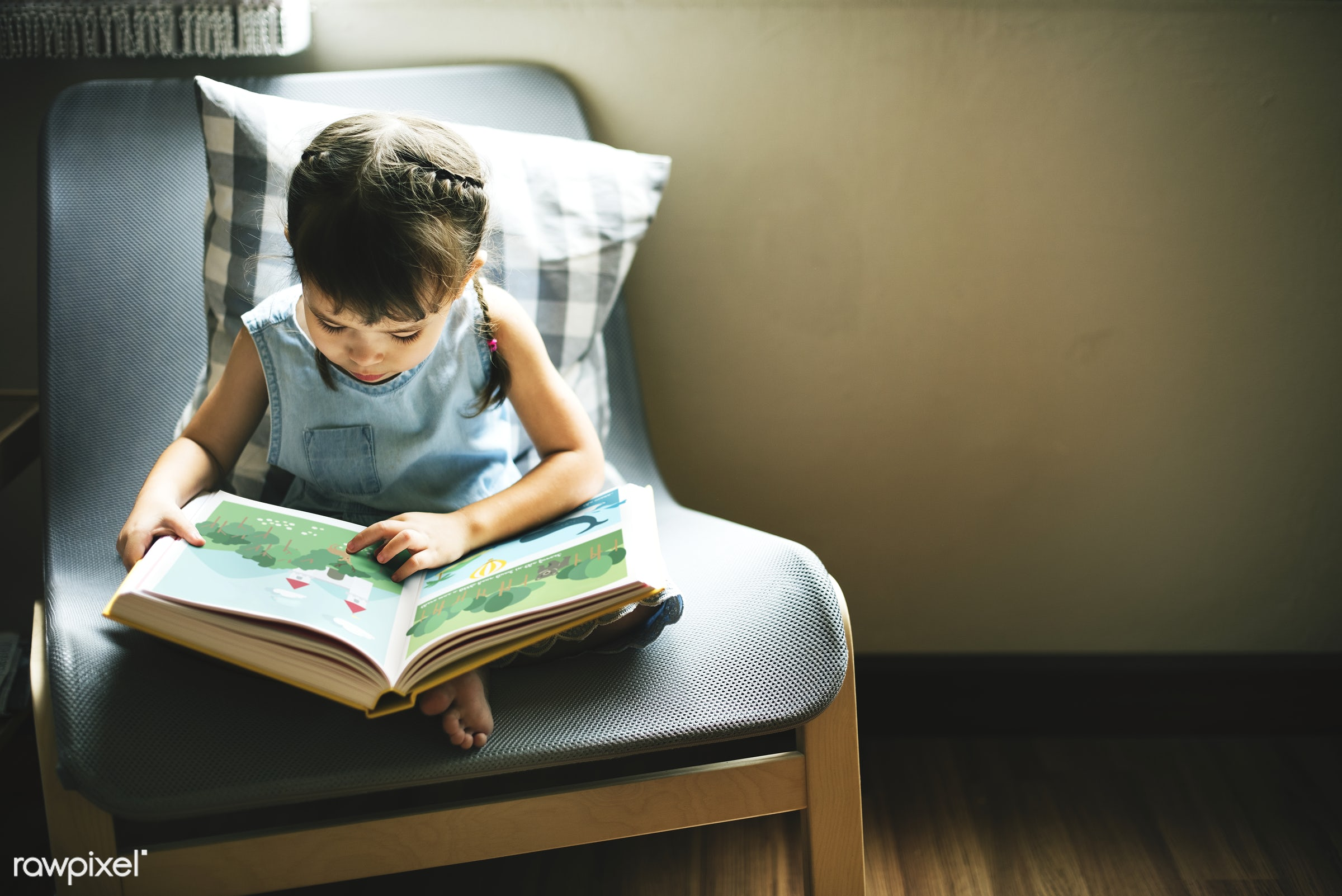 Little girl reading in a book - reading, child, activity, adolescence, book, casual, cheerful, childhood, children, cute,...
