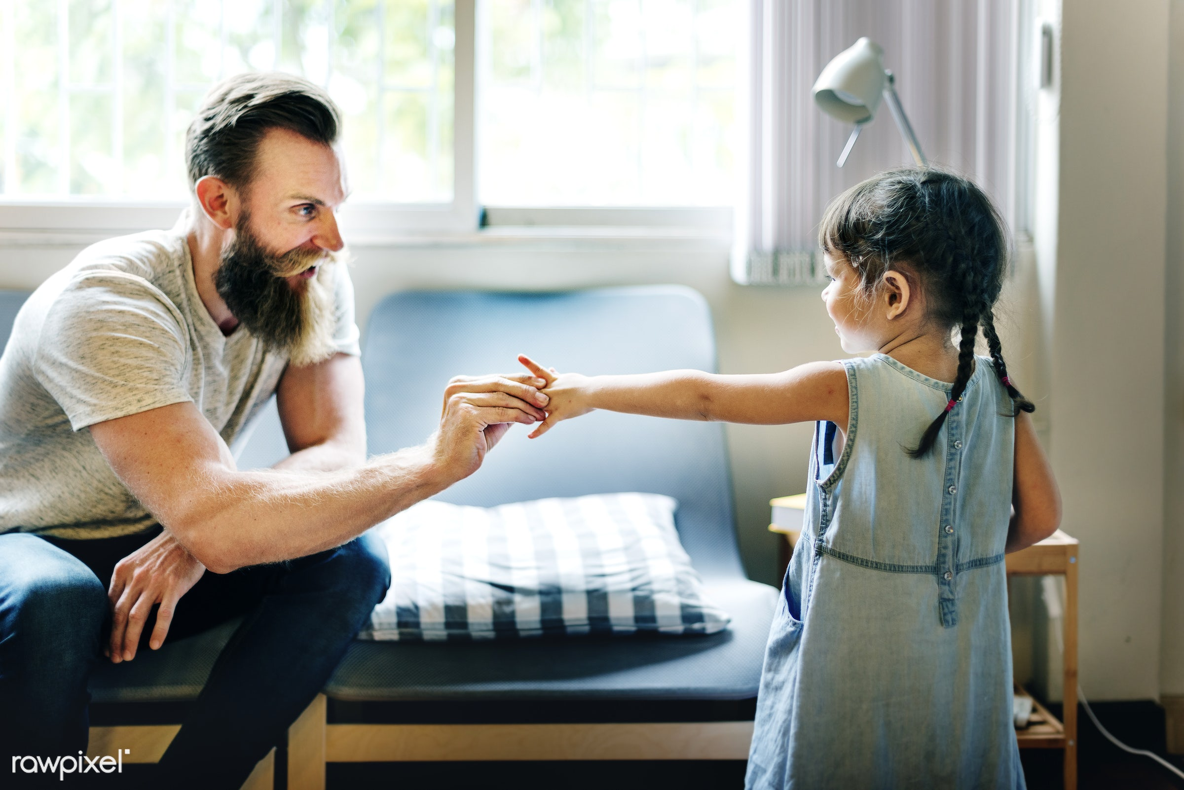 Dad holding his daughter's hand - activity, bonding, carefree, casual, cheerful, child, childhood, communication, dad,...