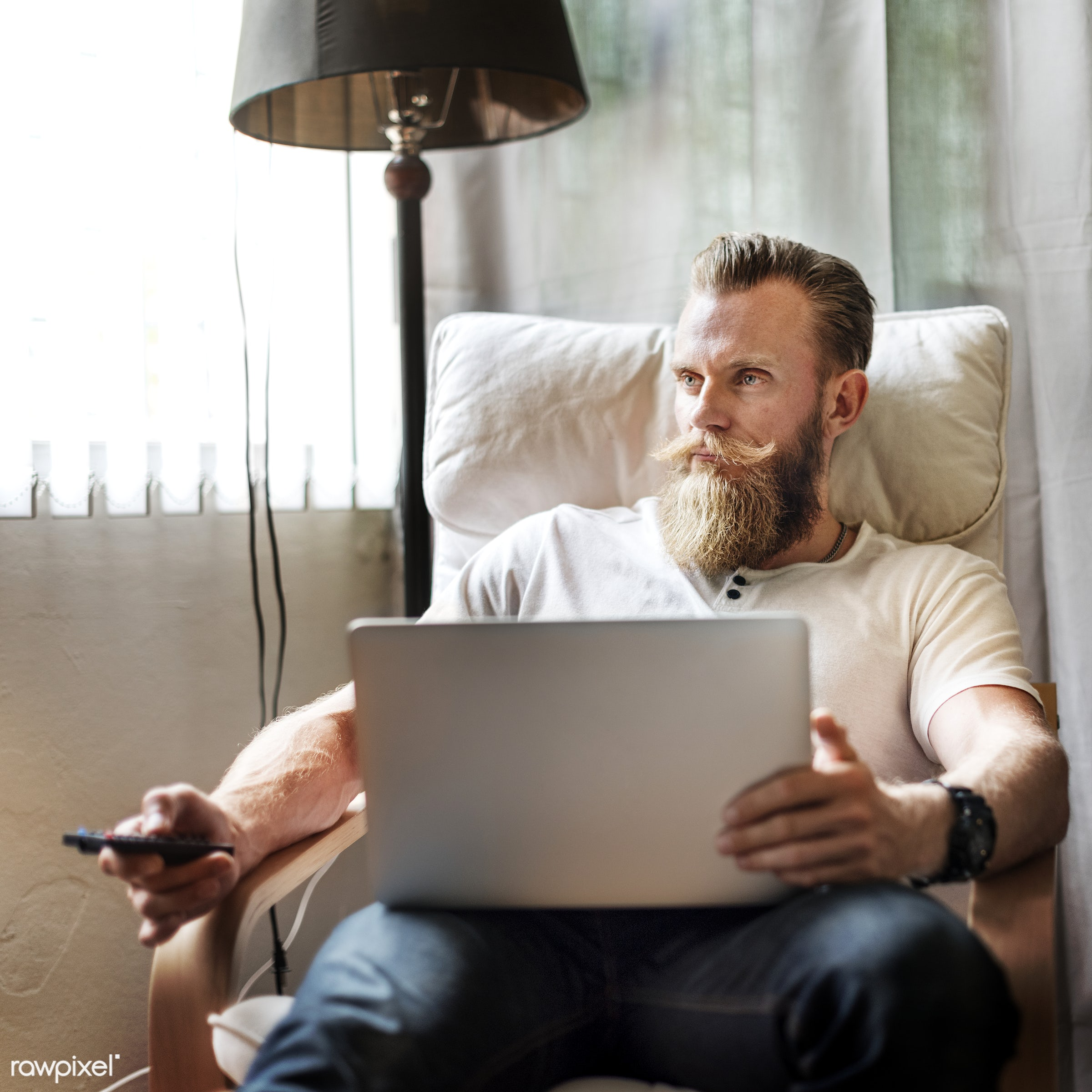 beard, tv, adult, armchair, at home, browsing, business, calm, chair, comfortable, communication, concentrated, connection,...