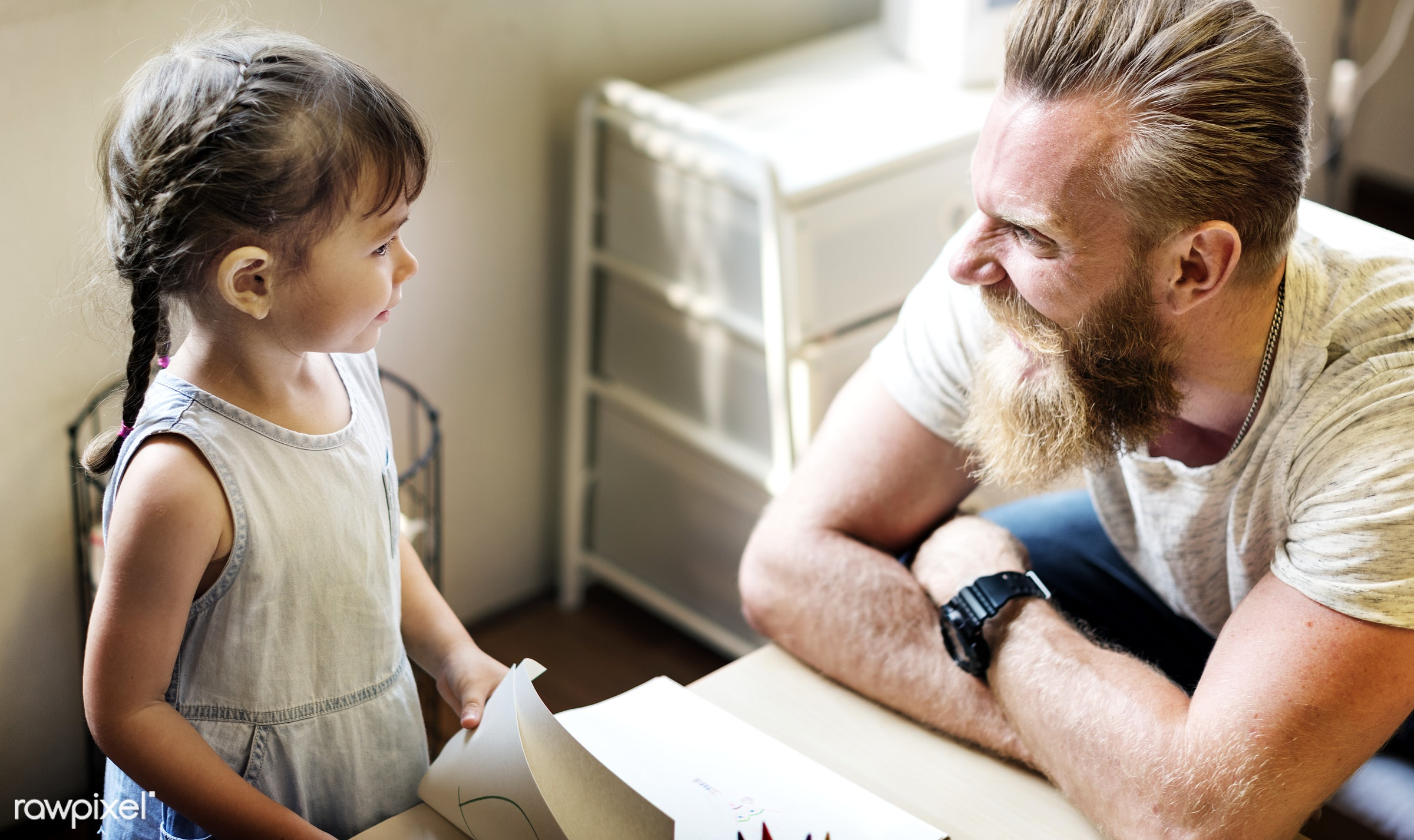 adult, asian, at home, beard, caucasian, cheerful, child, childhood, communication, connection, dad, daughter, emotion,...