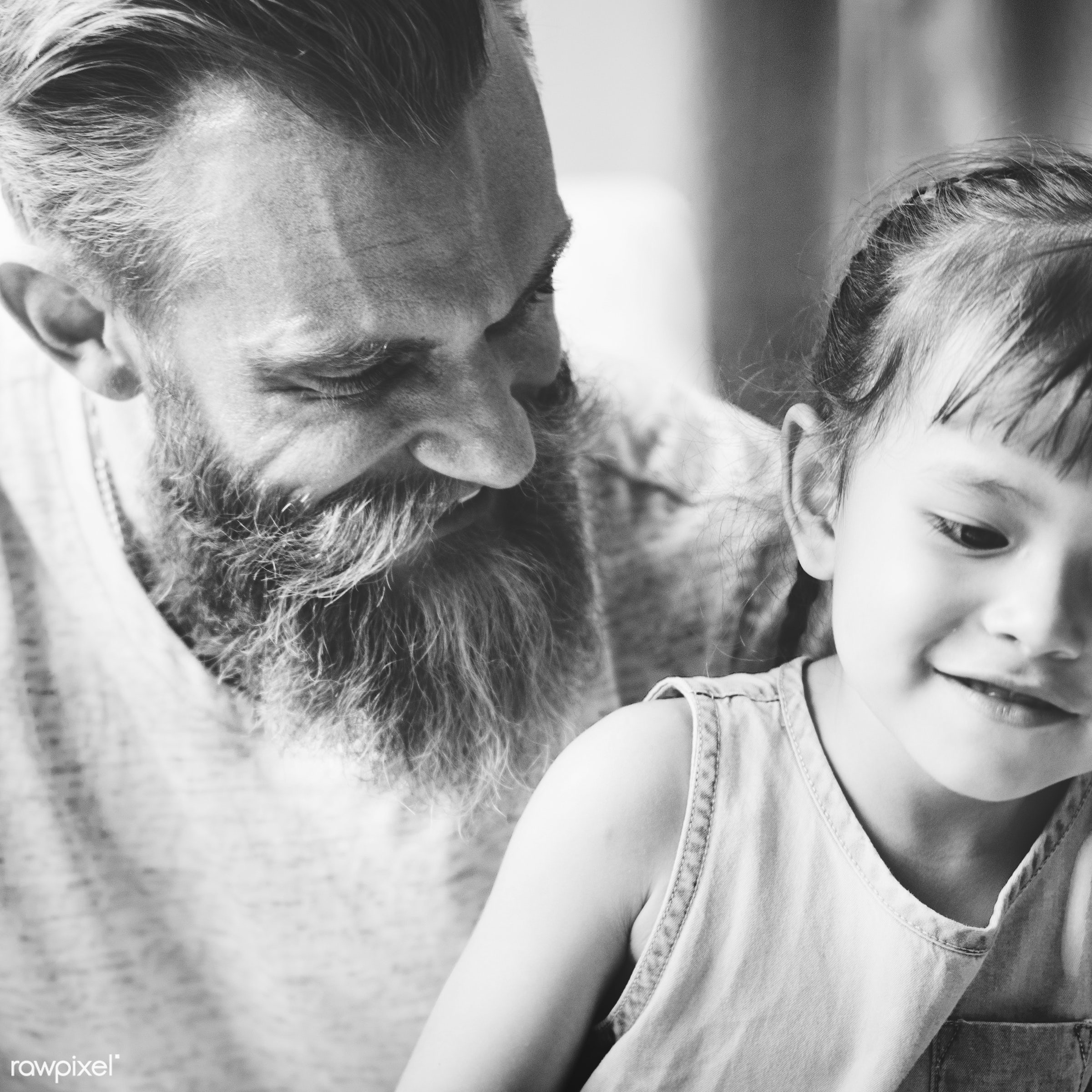 Close up of a father and a daughter - activity, bonding, carefree, casual, cheerful, child, childhood, communication, dad,...