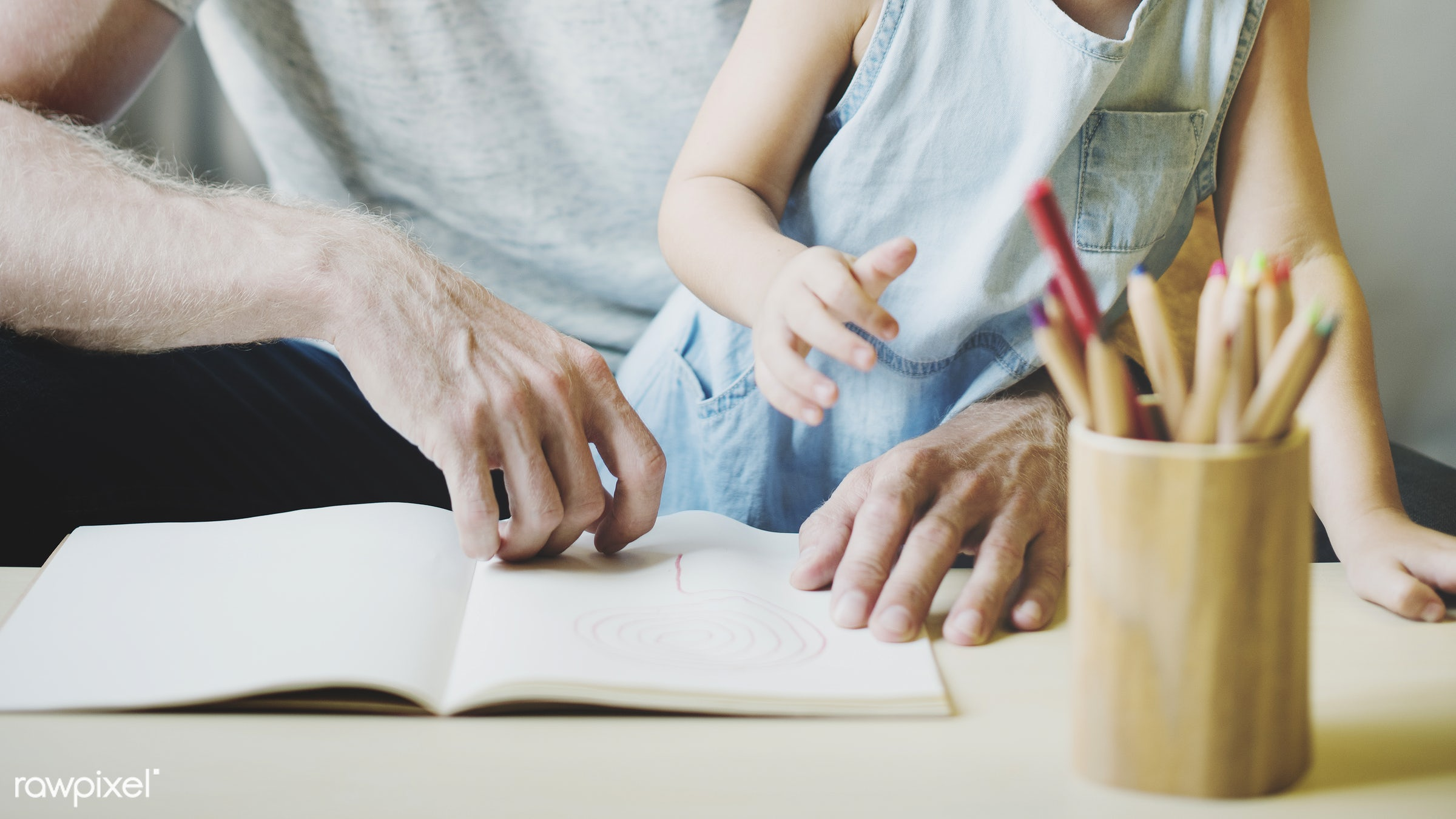 activity, art, bonding, book, carefree, casual, cheerful, child, childhood, communication, create, dad, daddy, daughter,...
