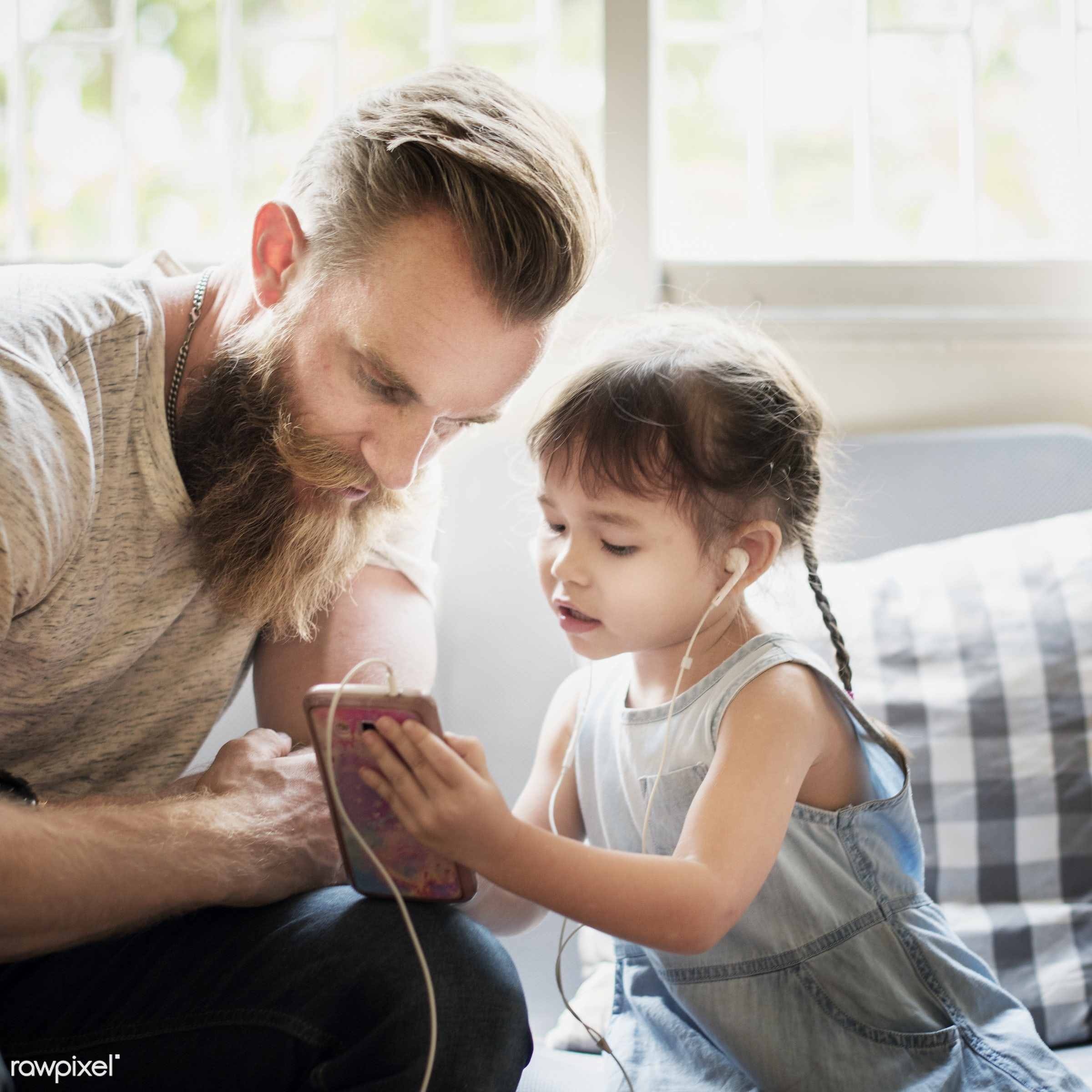 showing, adult, asian, at home, beard, browsing, caucasian, cheerful, child, childhood, communication, connection, dad,...