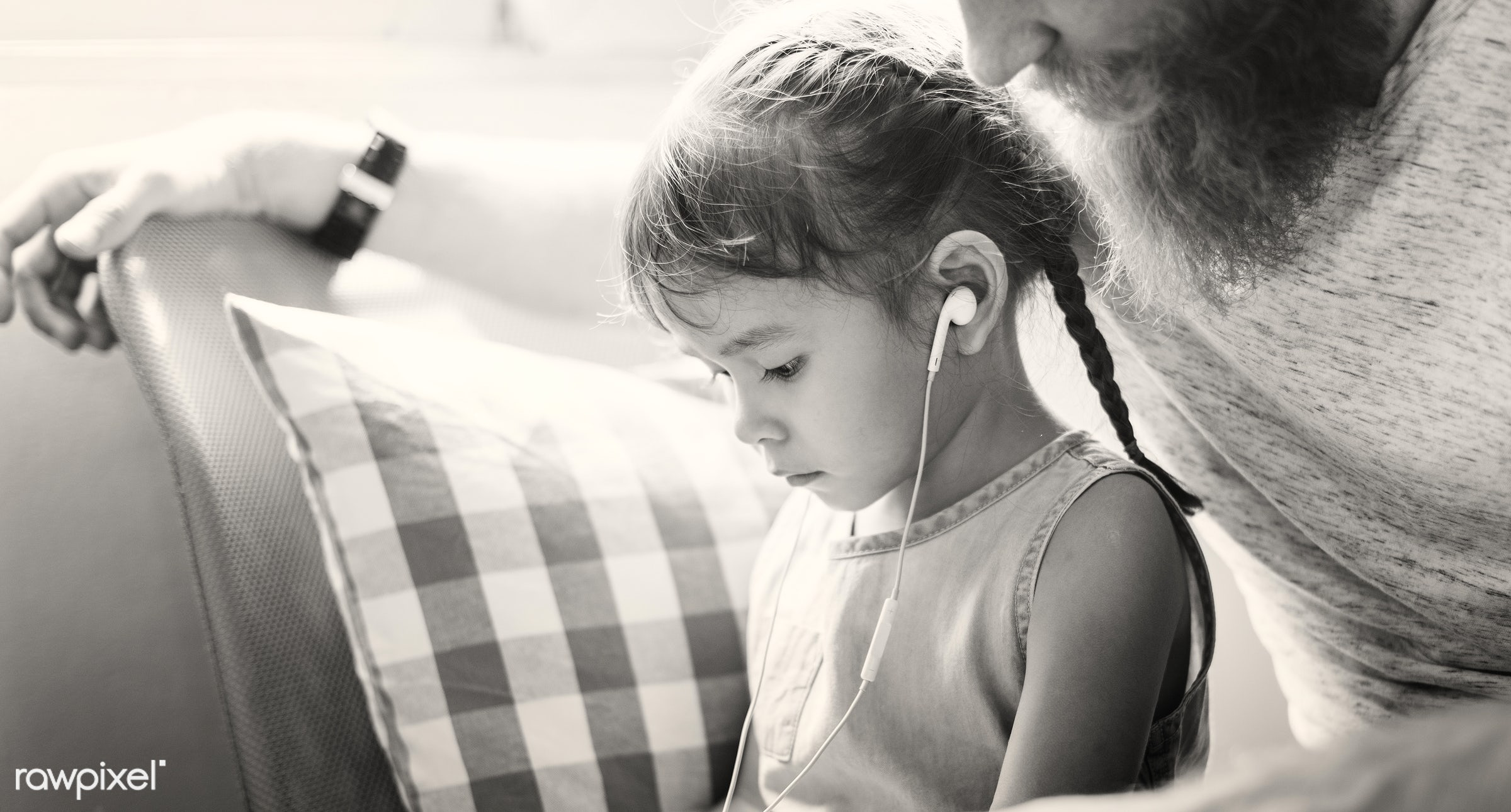child, dad, family, kid, listening, father, adolescence, bonding, browsing, cheerful, childhood, communication, connection,...