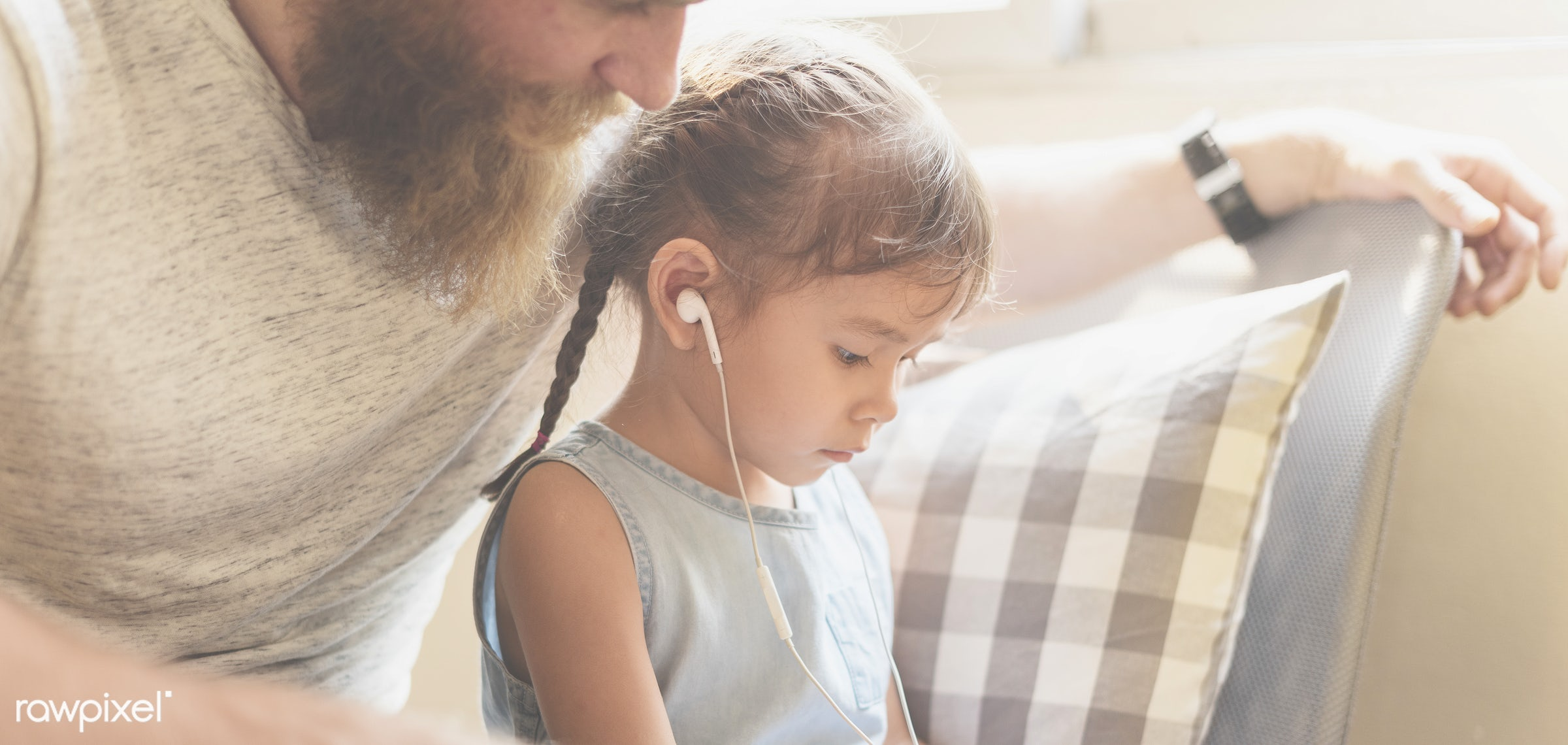 adolescence, bonding, browsing, cheerful, child, childhood, communication, connection, cute, dad, daughter, earphone,...