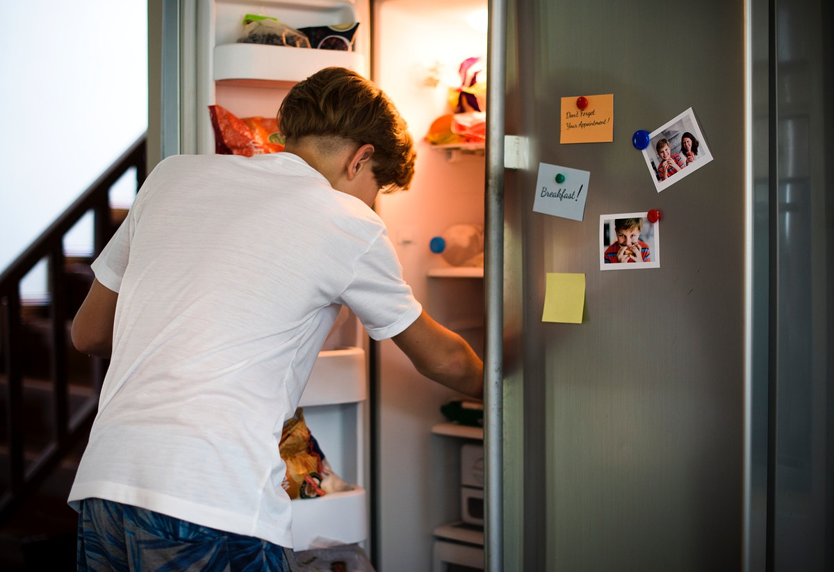 Young caucasian  boy open the fridge looking for something to eat