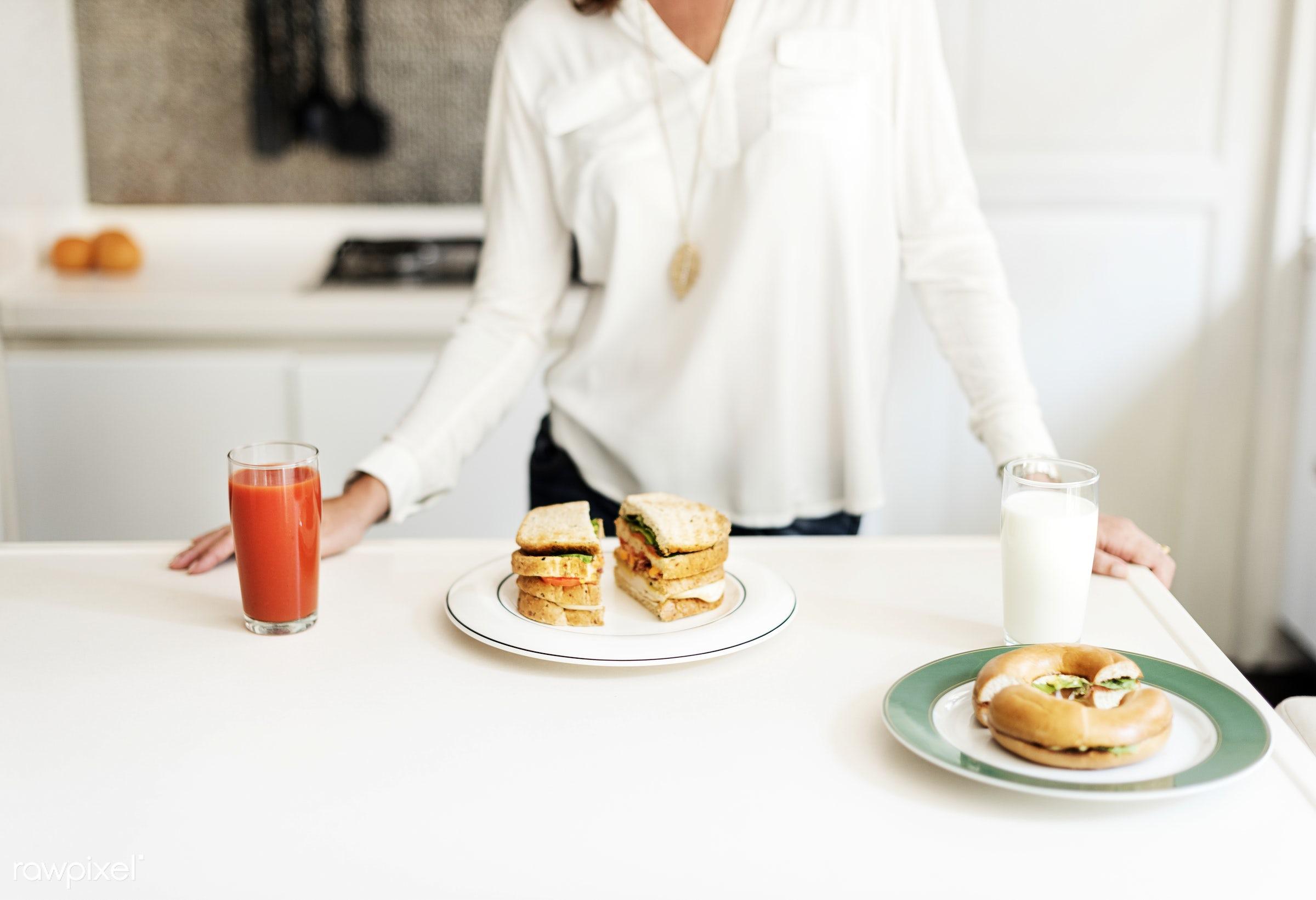 breakfast, white table, kitchen, homemade, snack, sandwich, milk, food, drink, juice, bagel, meal