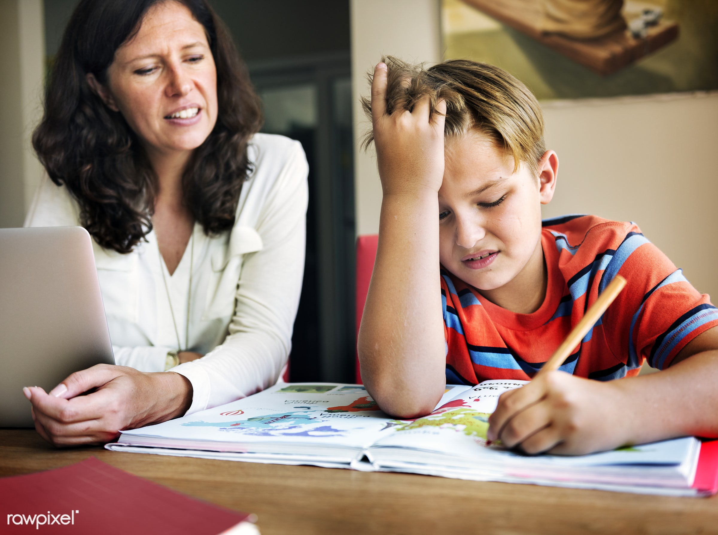 Daily lifestyle of caucasian family shoot - family, homework, teaching, mother, mom, assignment, boy, child, computer,...