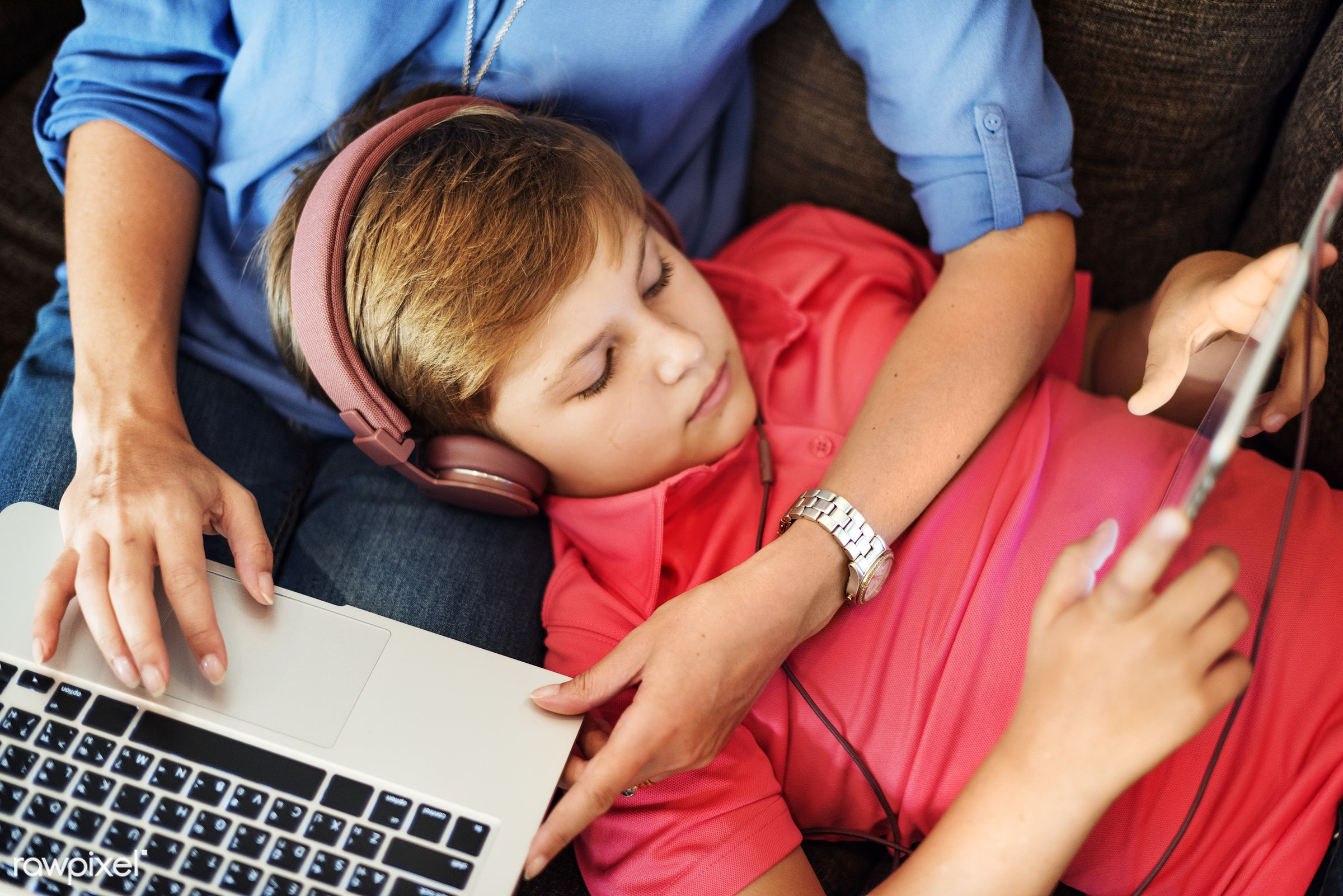 Daily lifestyle of caucasian family shoot - young, boy, cheerful, child, computer, device, digital, enjoy, family, happiness...