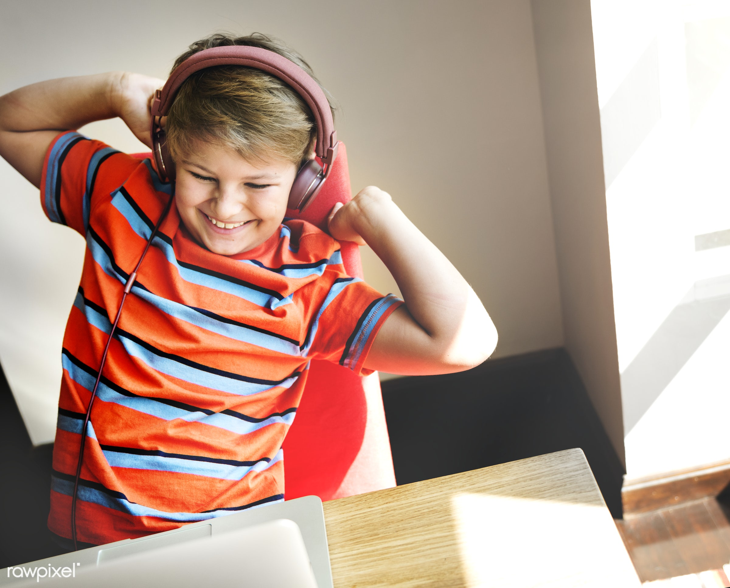 Daily lifestyle of caucasian family shoot - alone, audio, boy, cheerful, child, computer, device, digital, enjoy,...