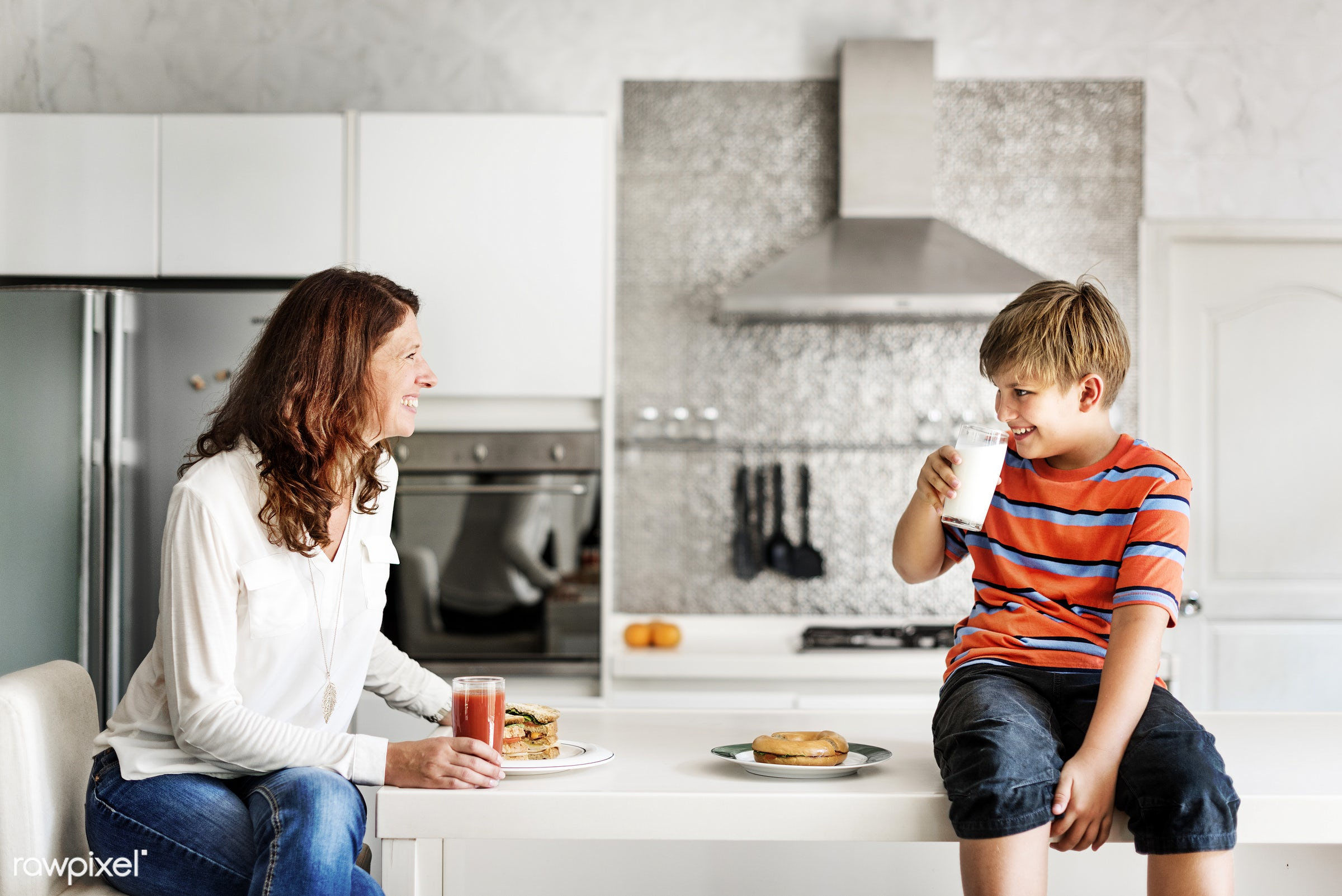 breakfast, boy, caucasian, cheerful, child, eat, eating, enjoy, family, food, happiness, home, homemade, house, kid, kitchen...
