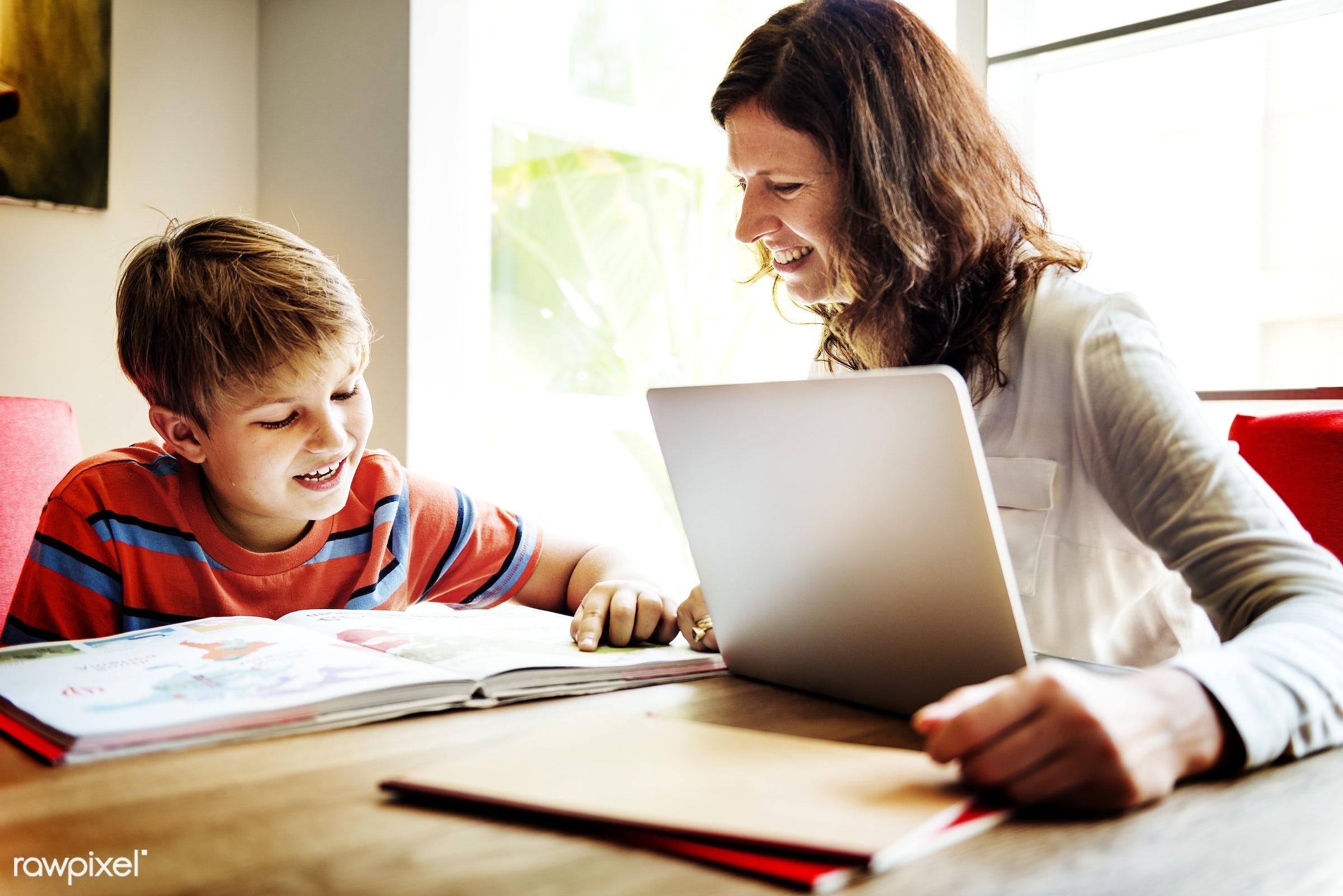 boy, caucasian, cheerful, child, device, digital, enjoy, family, happiness, home, homework, house, kid, lifestyle, love, mom...