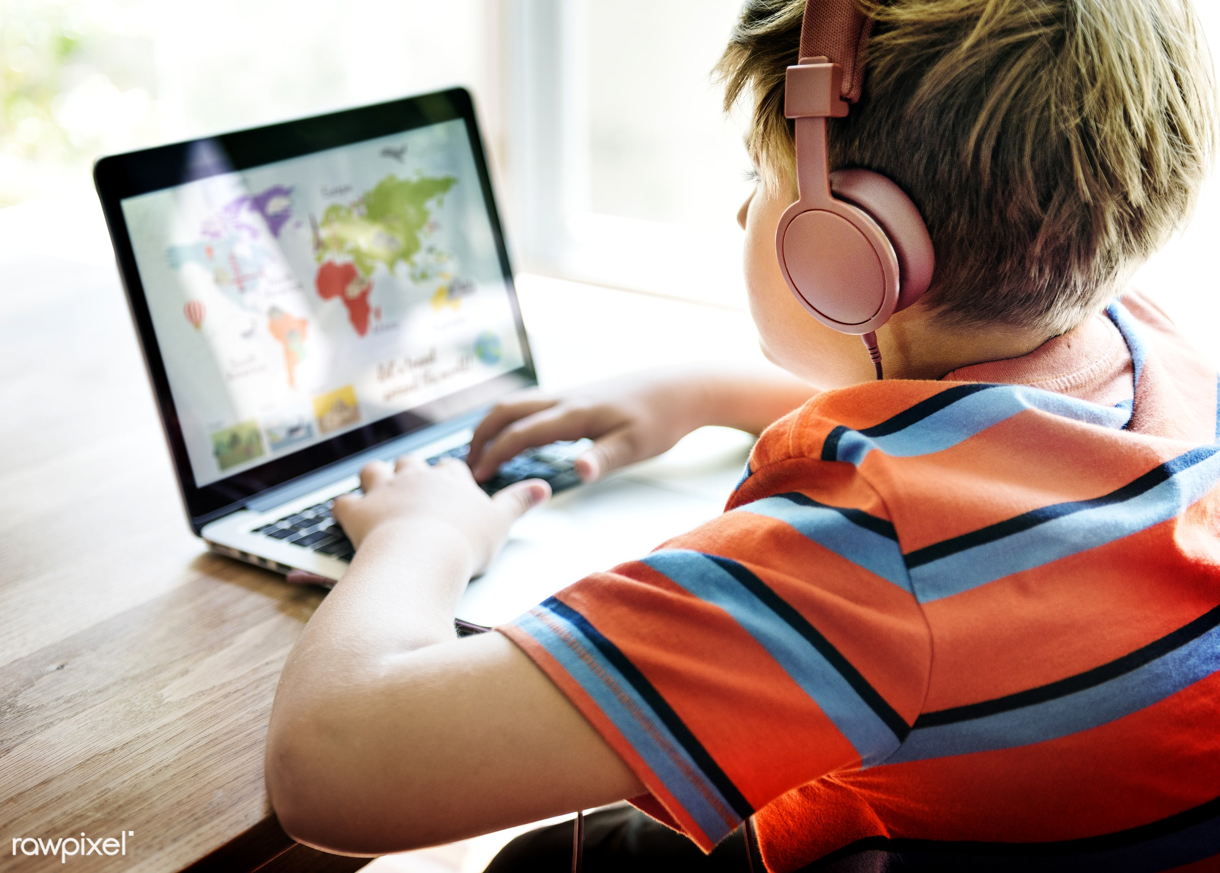 Daily lifestyle of caucasian family shoot - child, computer, alone, audio, boy, cheerful, device, digital, enjoy,...