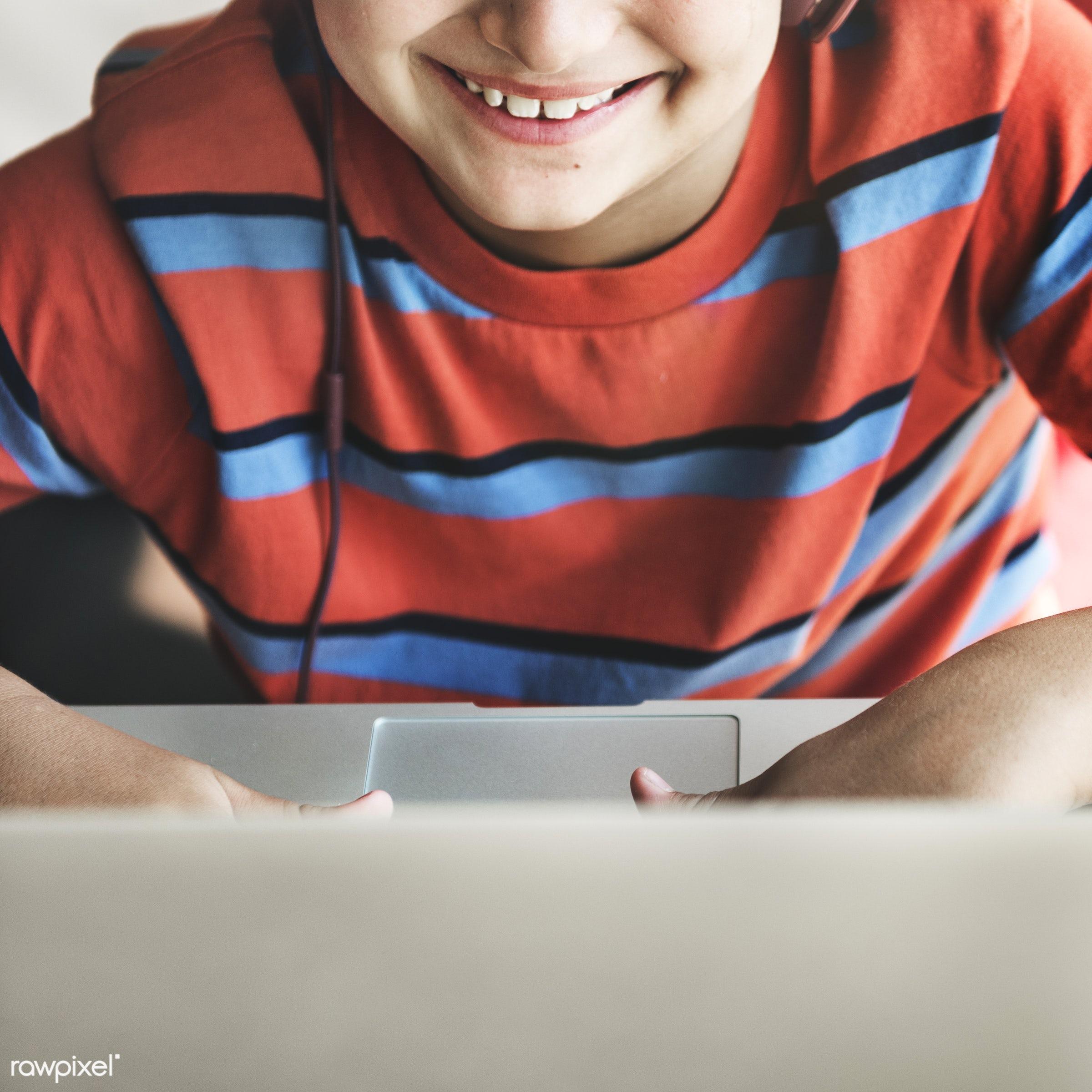 alone, audio, boy, cheerful, child, computer, device, digital, enjoy, entertainment, happiness, headphones, home, house, kid...