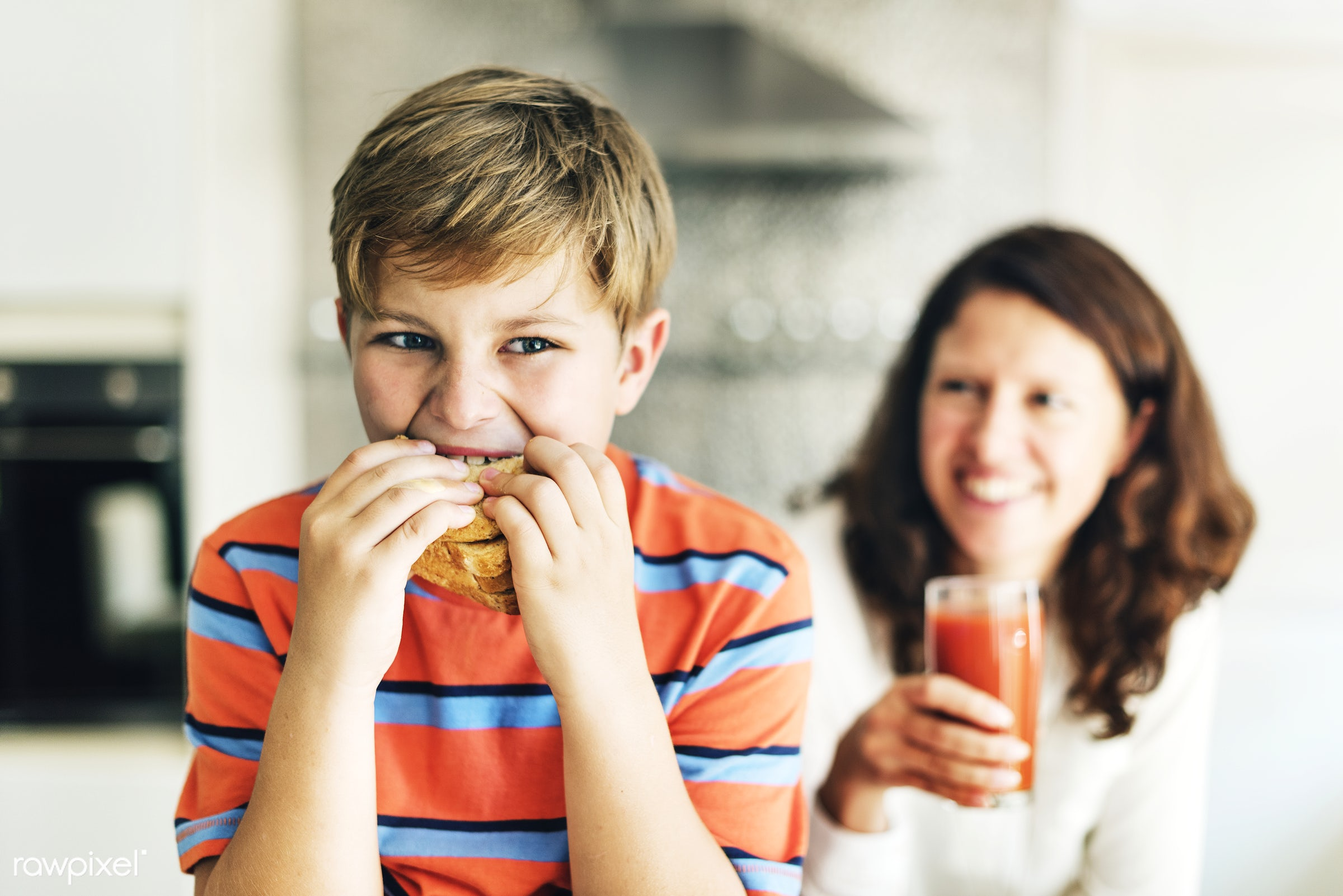 Daily lifestyle of caucasian family shoot - sandwich, boy, breakfast, cheerful, child, eat, eating, enjoy, family, food,...