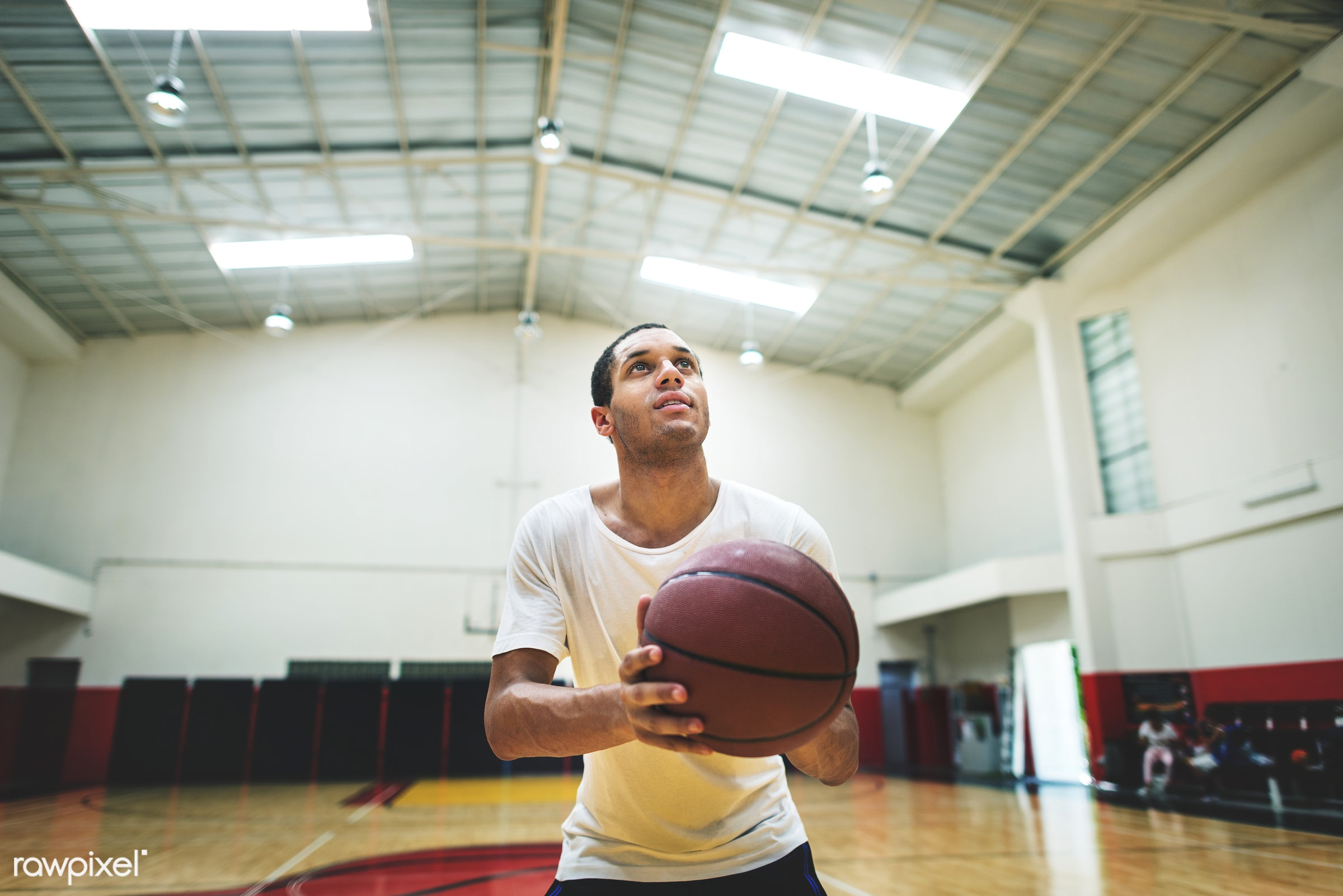 Young basketball player shoot - basketball, activity, alone, boy, court, exercise, game, gym, gymnasium, man, one, play,...
