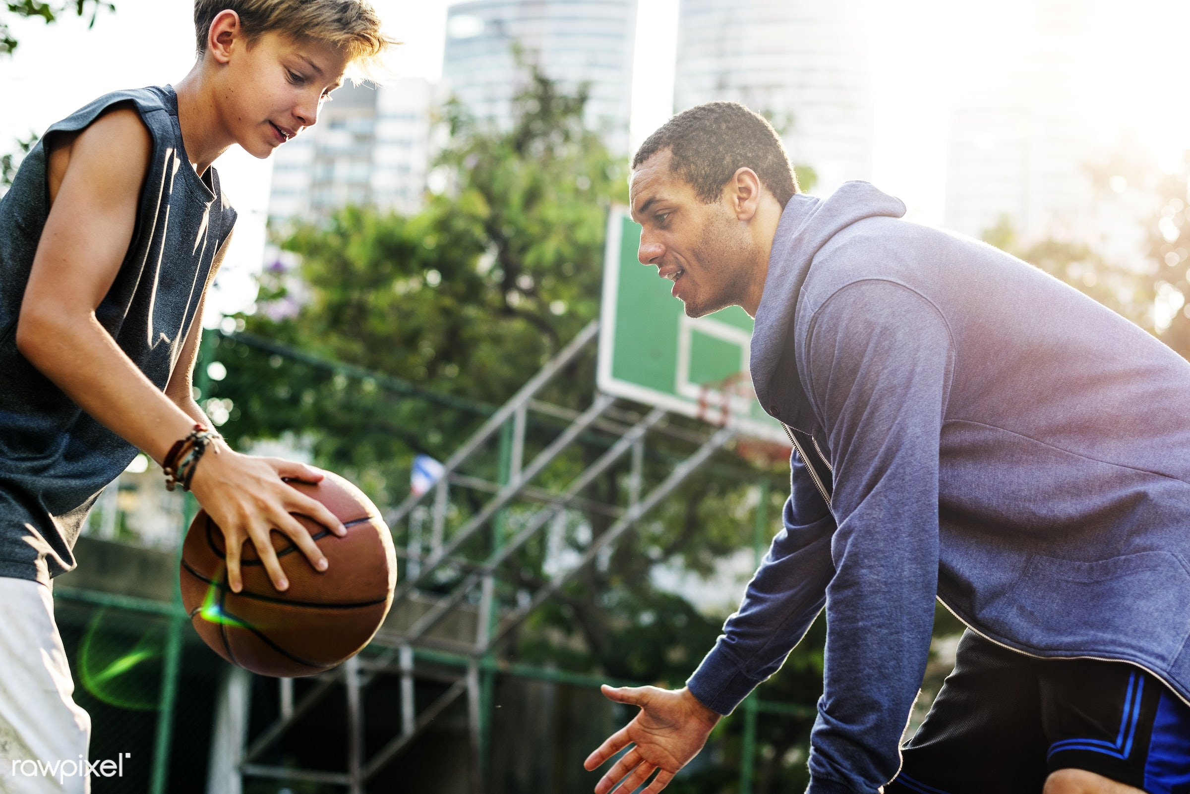Young basketball player shoot - sport, activity, basketball, boy, caucasian, coach, coaching, court, exercise, friends, game...