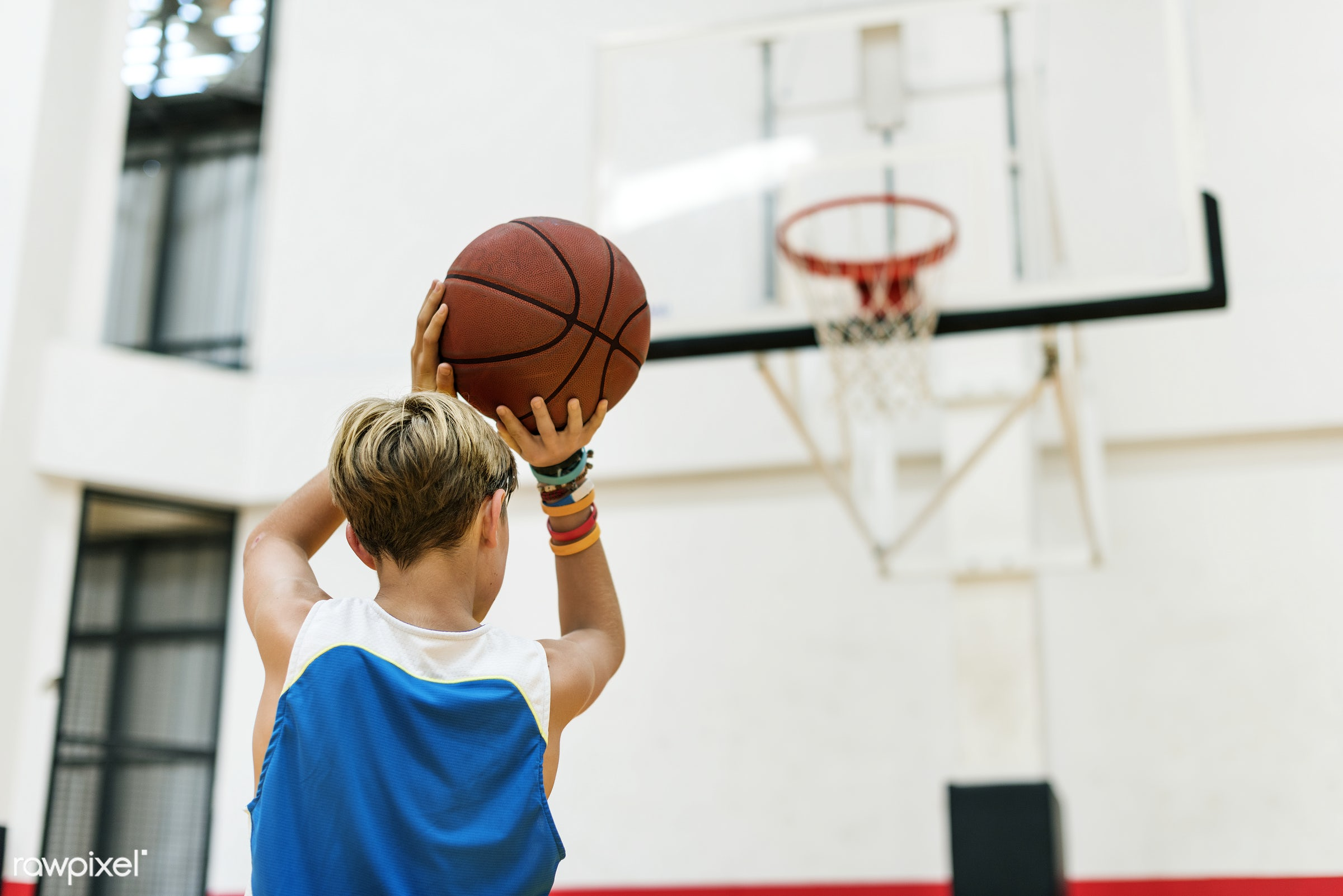 teen, play, basketball, gym, activity, alone, boy, court, exercise, game, gymnasium, man, one, player, practice, shoot,...