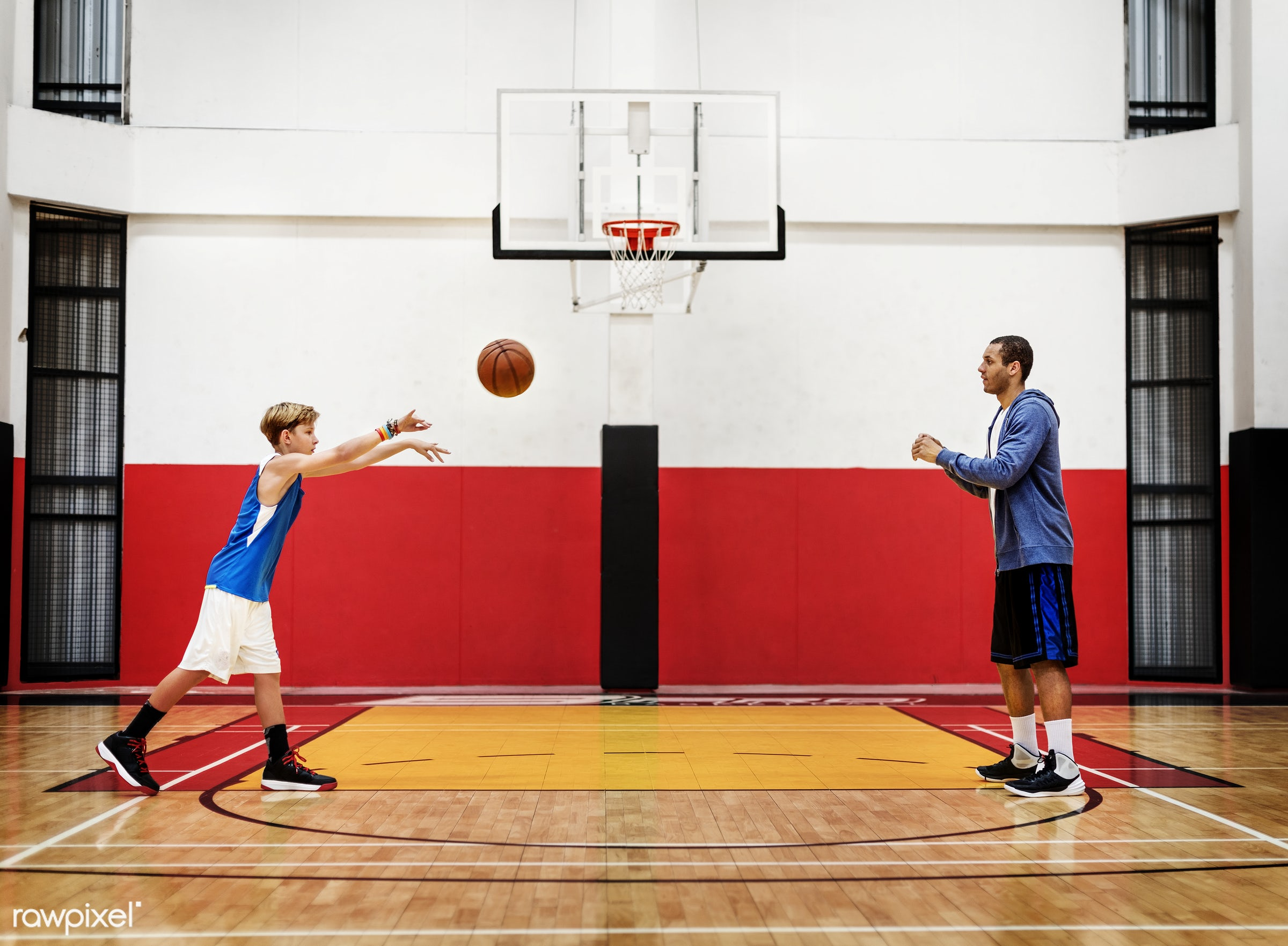 Young basketball player shoot - coach, teen, activity, basketball, boy, court, exercise, friends, game, man, play, player,...