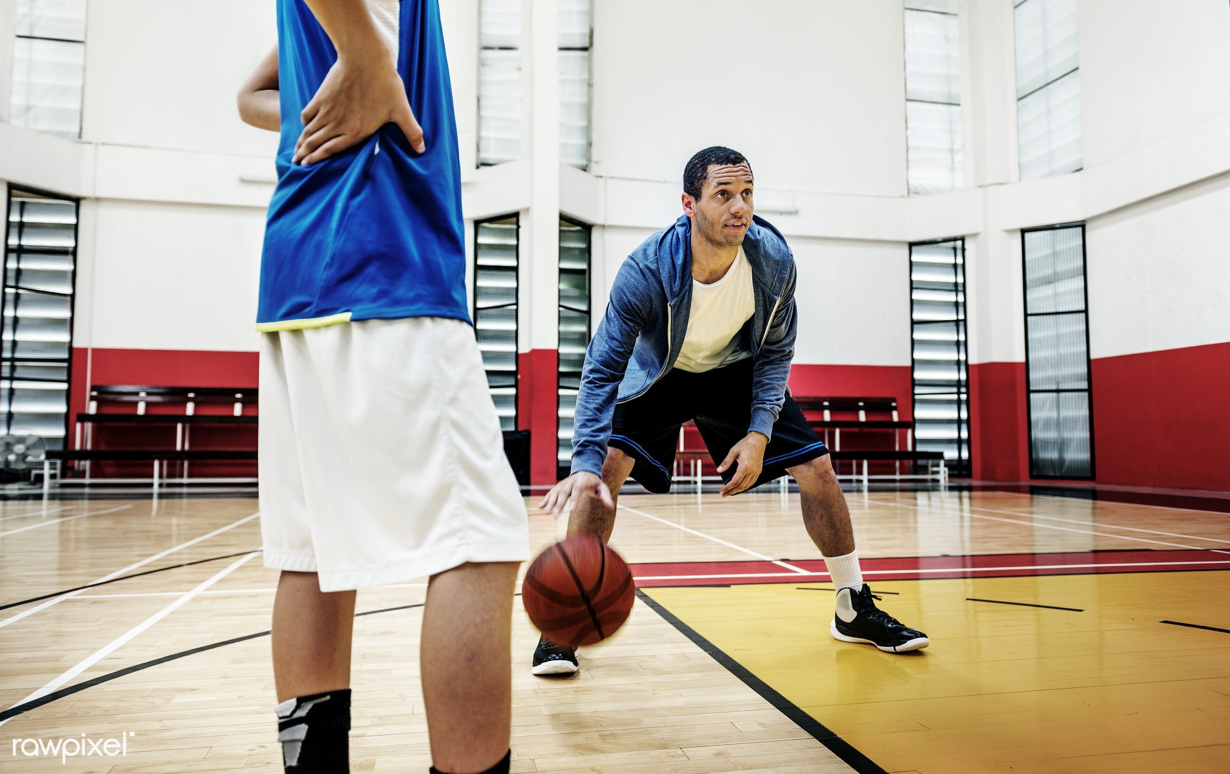 Young basketball player shoot - sport, basketball, activity, alone, boy, exercise, game, gymnasium, man, one, play, player,...