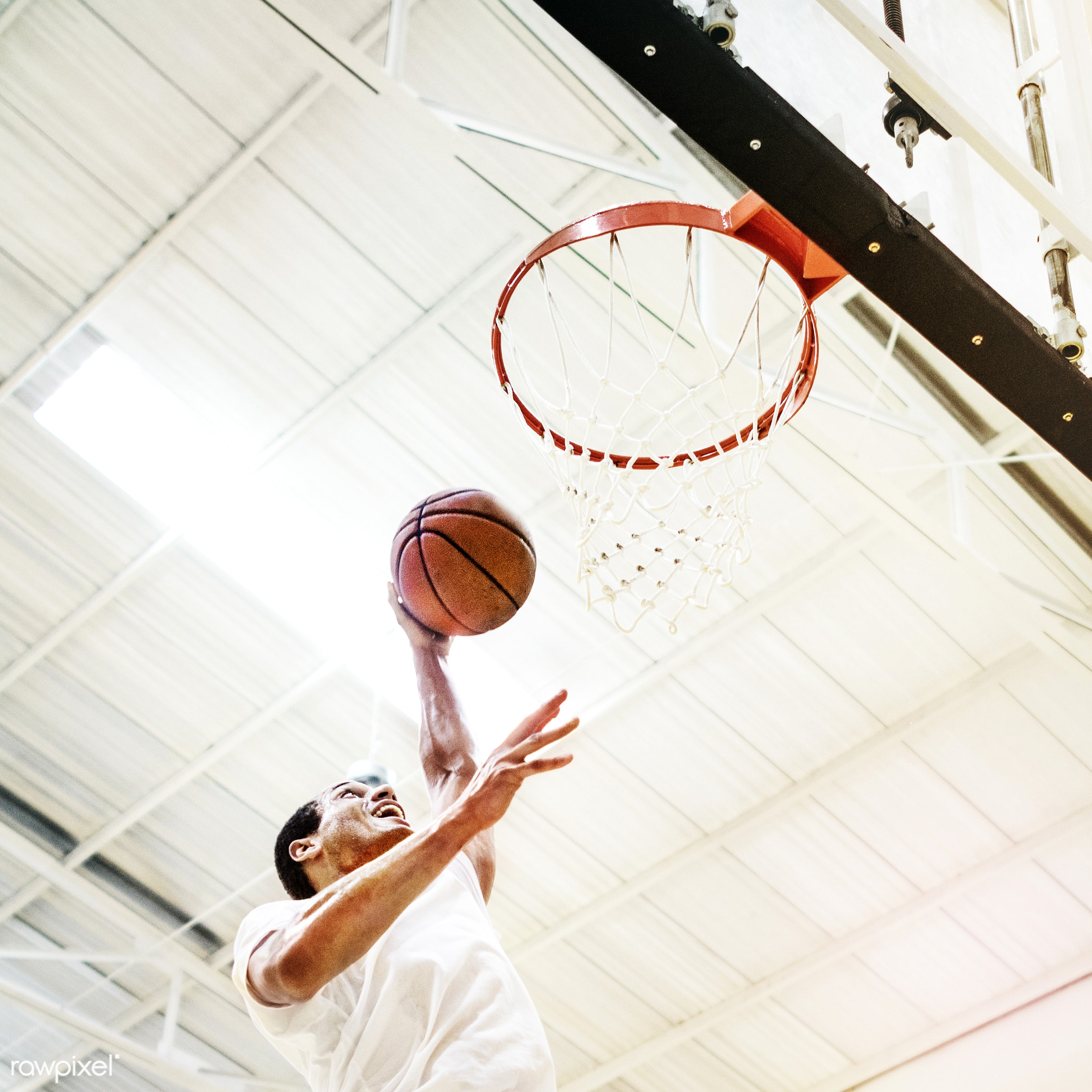 activity, alone, ball, basketball, boy, caucasian, court, dunk, exercise, game, gym, gymnasium, hoop, jump, loop, man, one,...