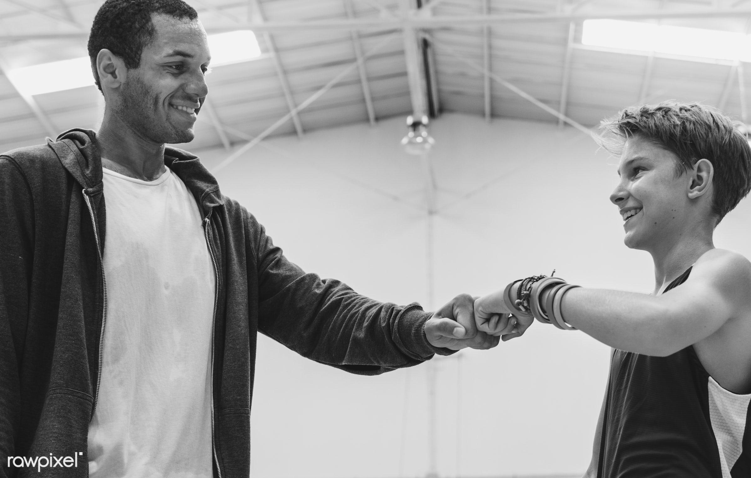 Young basketball player shoot - teach, teen, basketball, coach, coaching, play, support, activity, boy, court, exercise,...