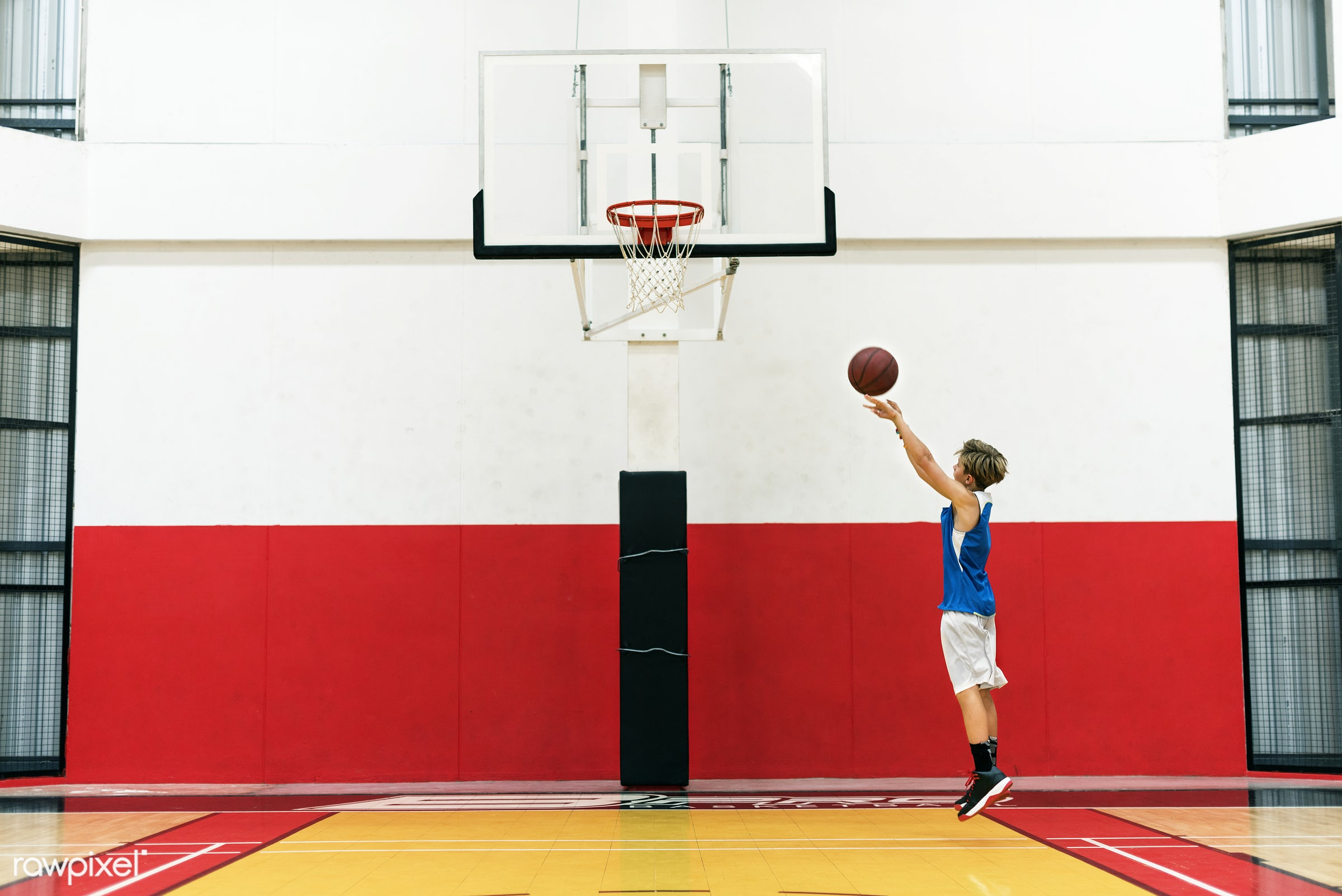 Young basketball player shoot - sport, basketball, jump, activity, aim, boy, court, dunk, exercise, game, hoop, man, play,...
