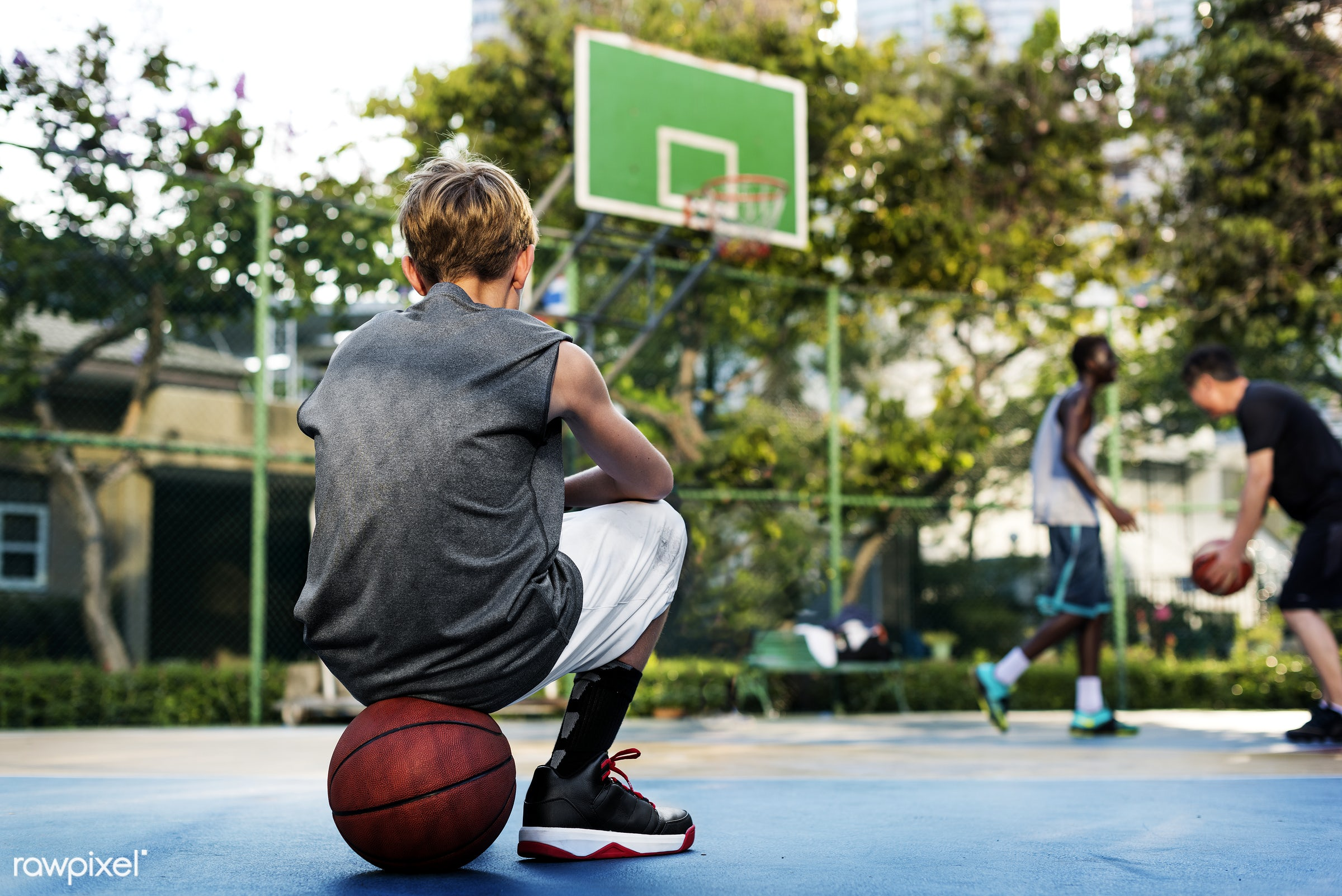 Young basketball player shoot - basketball, activity, boy, court, exercise, game, man, play, player, practice, sport,...