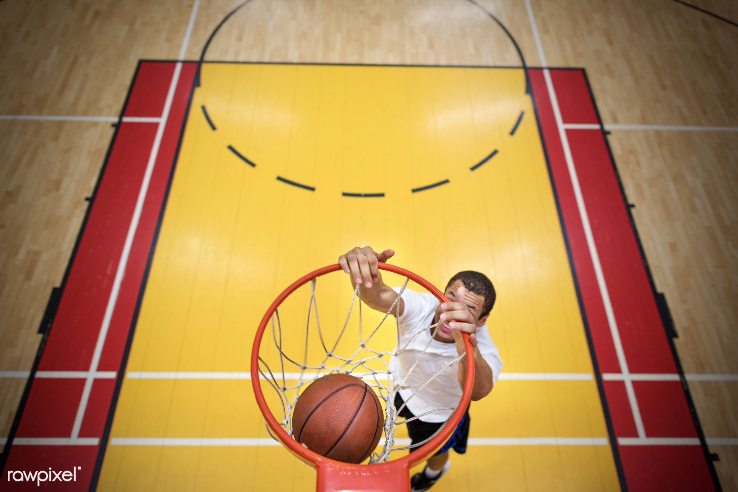 Young basketball player shoot - basketball, dunk, activity, alone, ball, boy, caucasian, court, exercise, game, gym,...