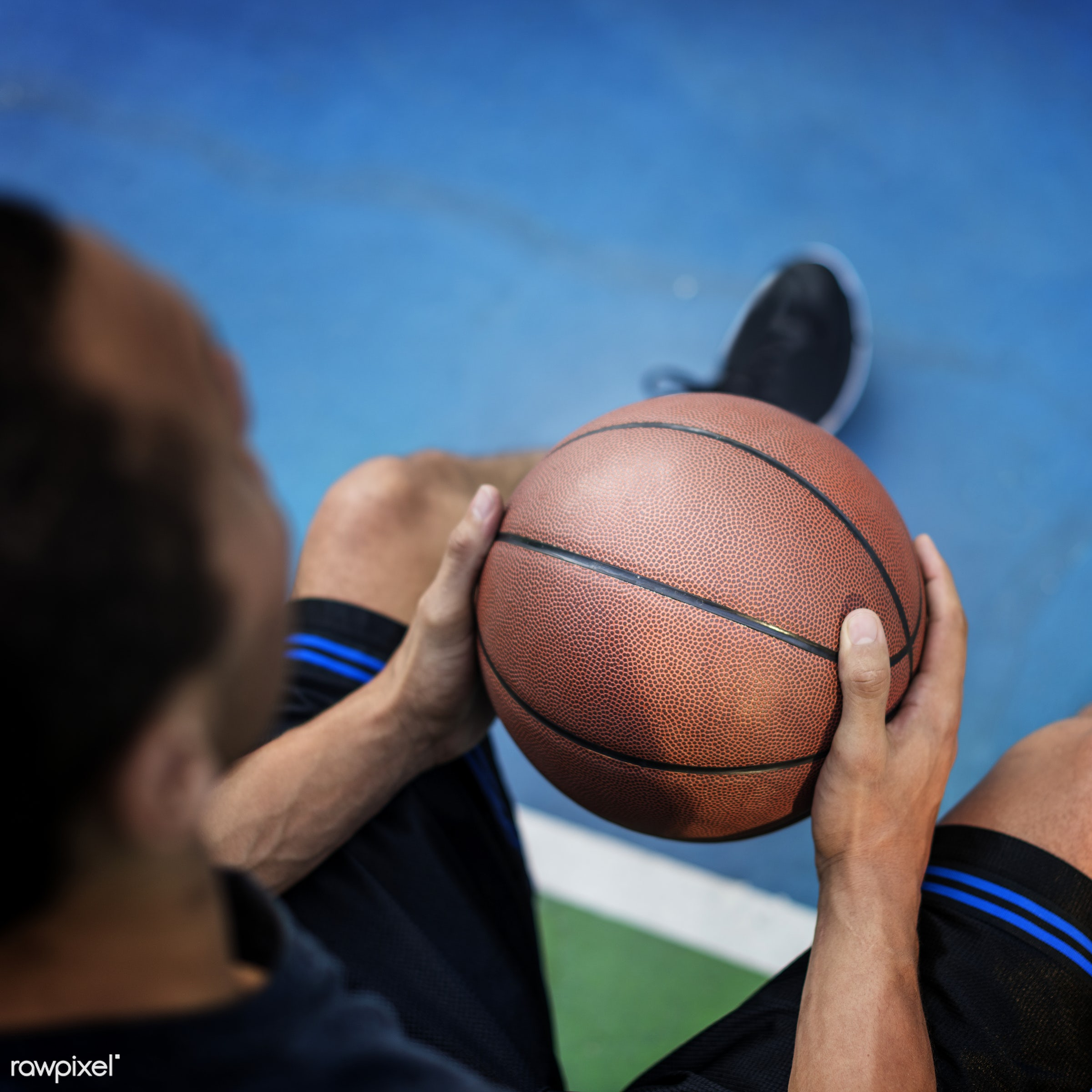 Young basketball player shoot - sport, activity, alone, basketball, boy, exercise, game, gymnasium, man, one, play, player,...