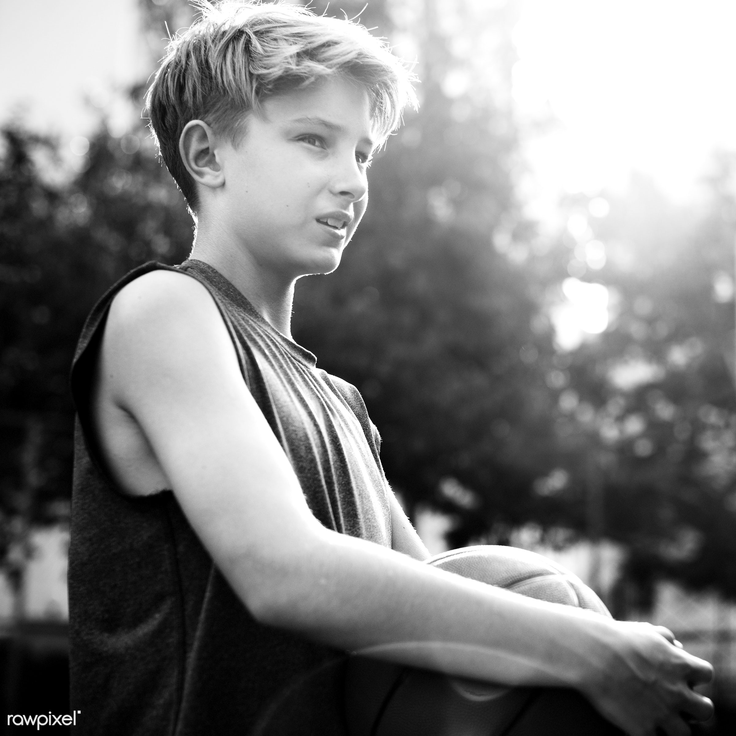 Young basketball player shoot - boy, activity, alone, basketball, exercise, game, gymnasium, man, one, play, player,...