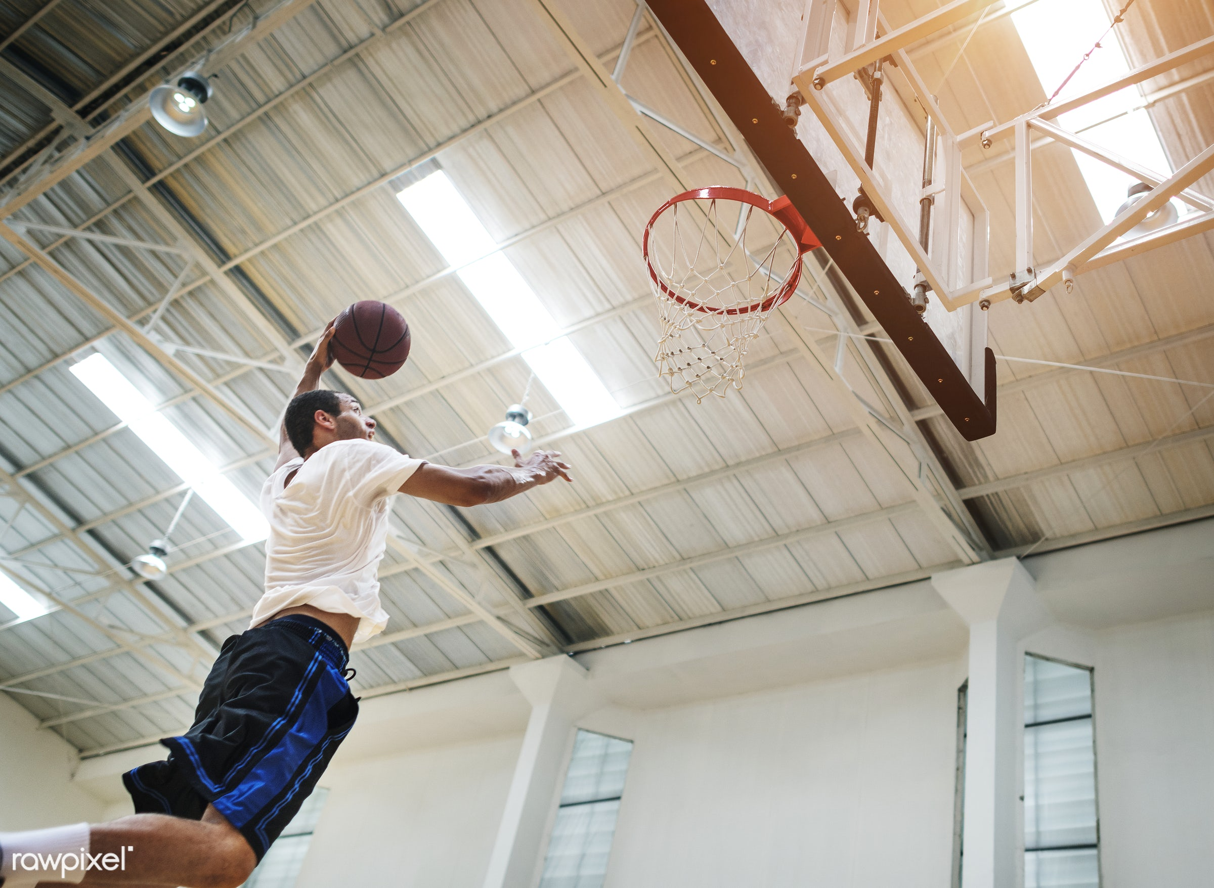 Young basketball player shoot - jump, activity, alone, basketball, boy, court, dunk, exercise, game, gym, gymnasium, man,...