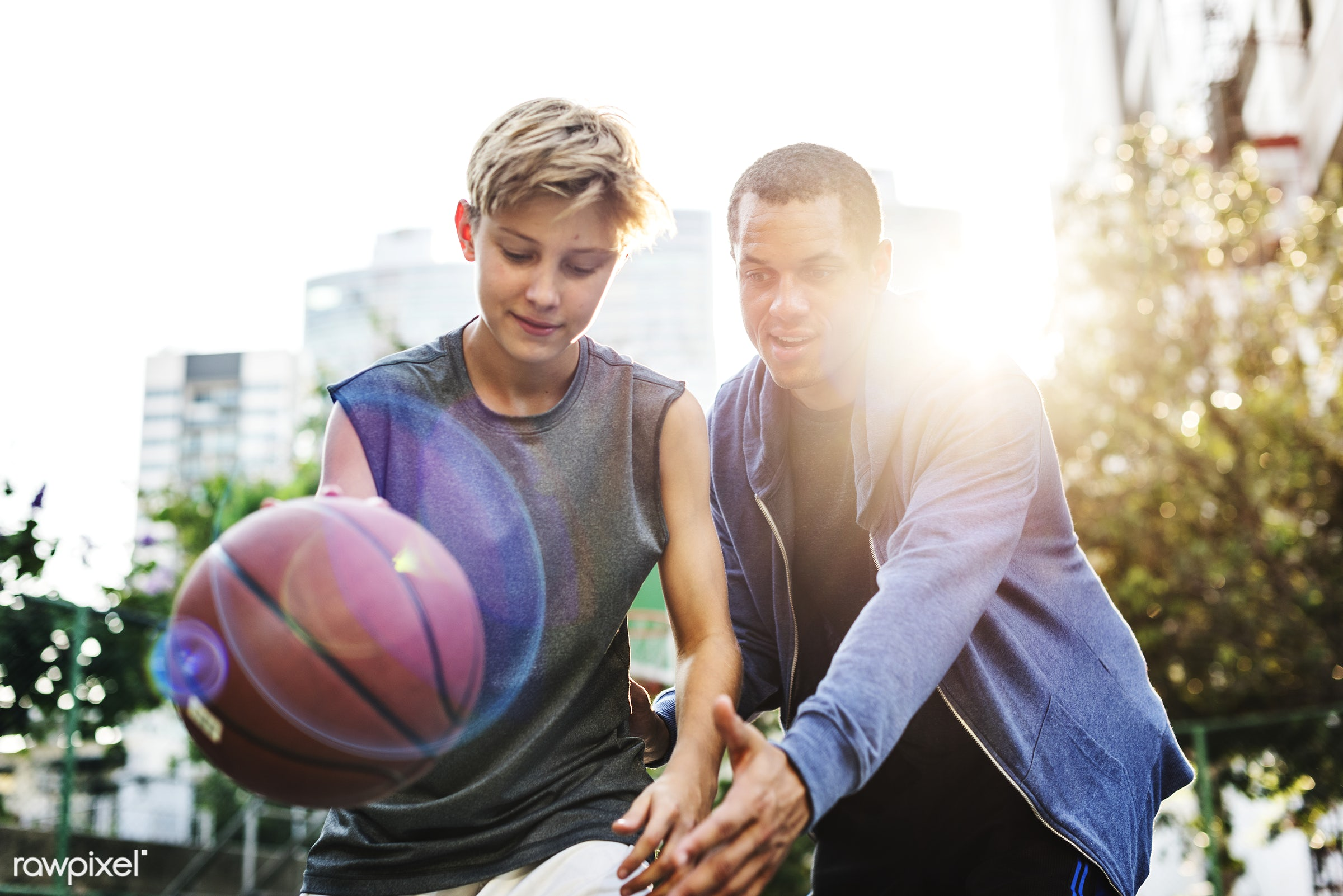 Young basketball player shoot - basketball, activity, boy, coach, coaching, court, exercise, friends, game, man, play,...