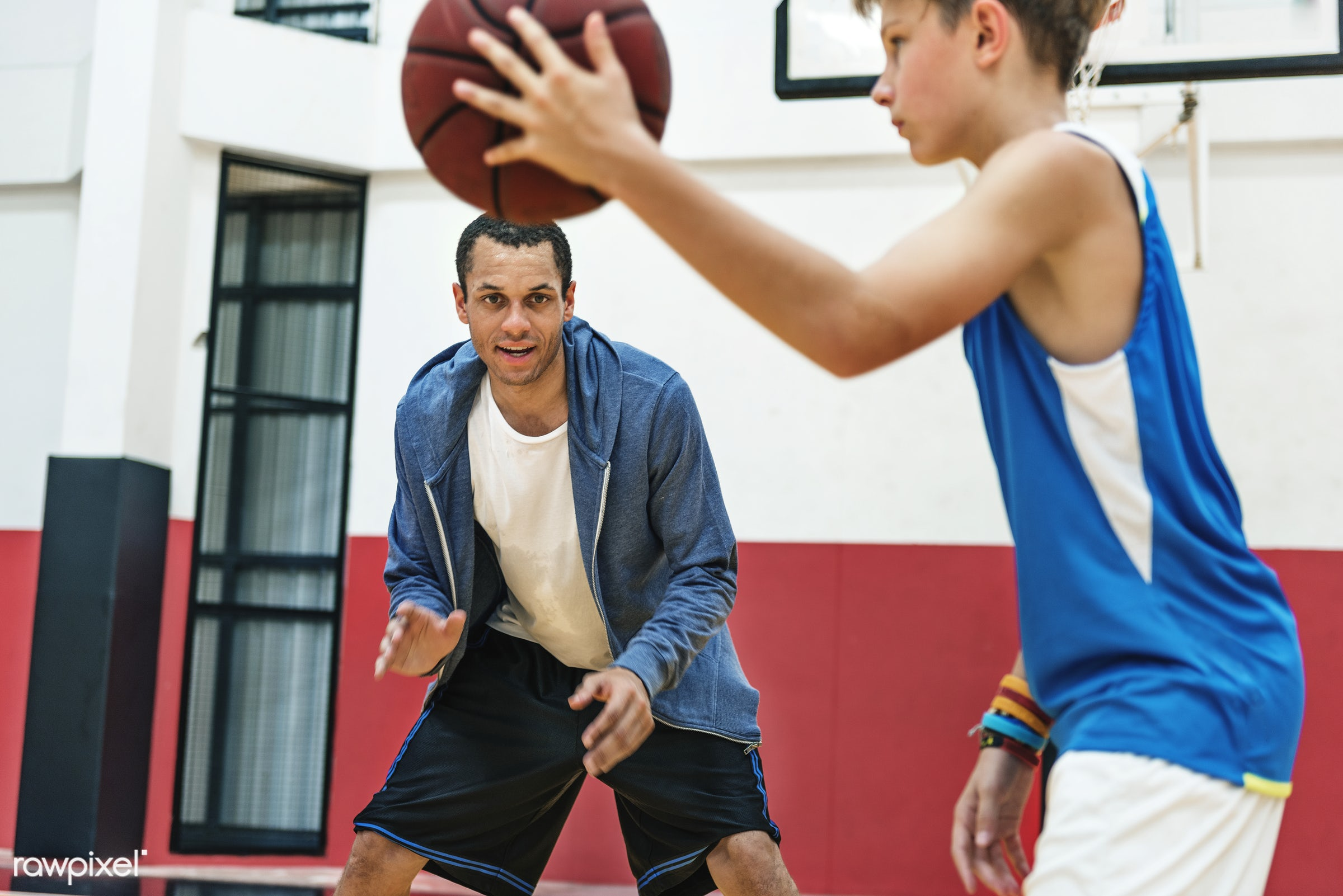 Young basketball player shoot - coaching, activity, basketball, boy, coach, court, exercise, friends, game, man, play,...