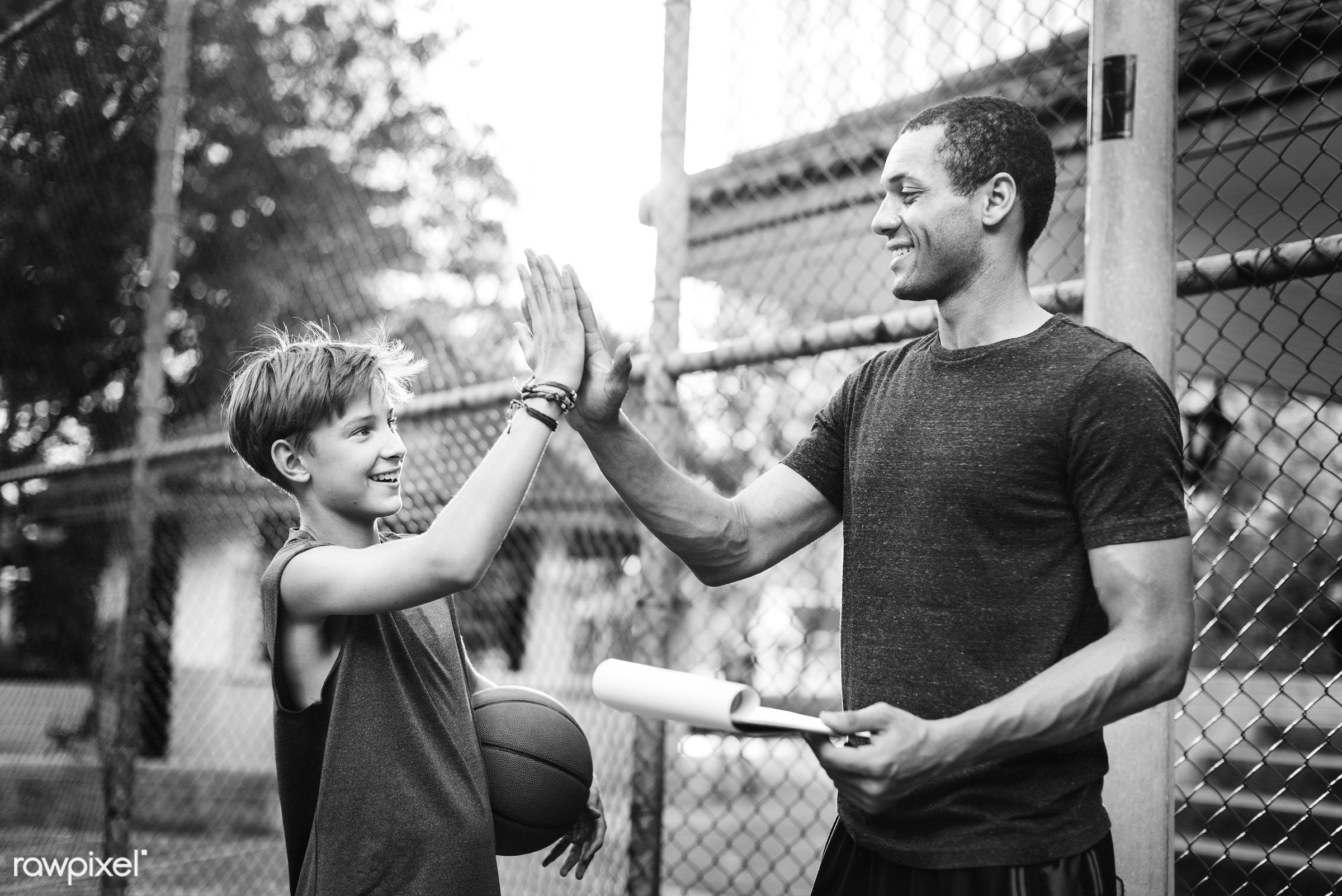 Young basketball player shoot - coach, activity, basketball, boy, coaching, court, exercise, friends, game, man, play,...