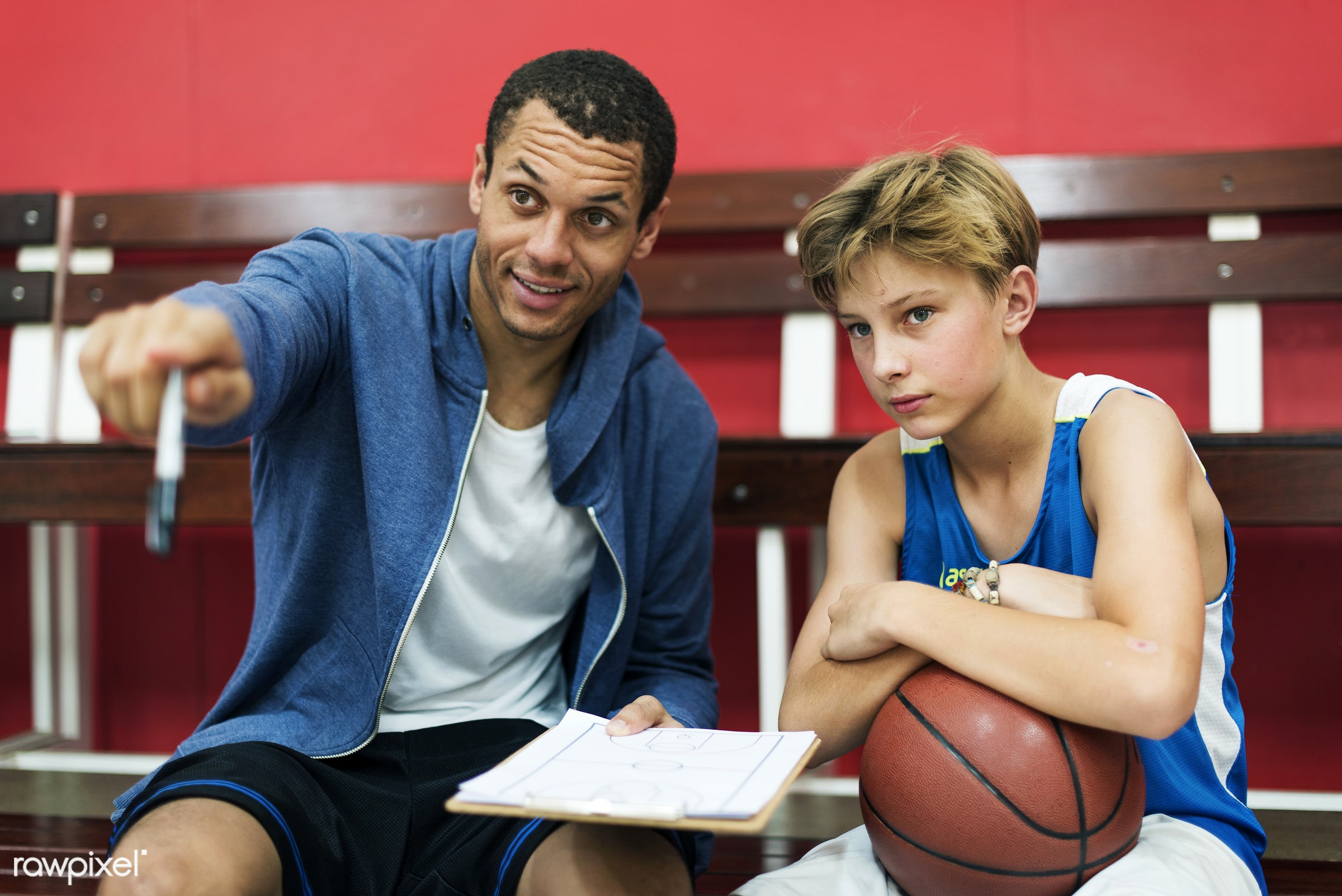 boy, basketball, activity, alone, board, caucasian, coach, coaching, exercise, game, gymnasium, man, one, paper, plan, play...