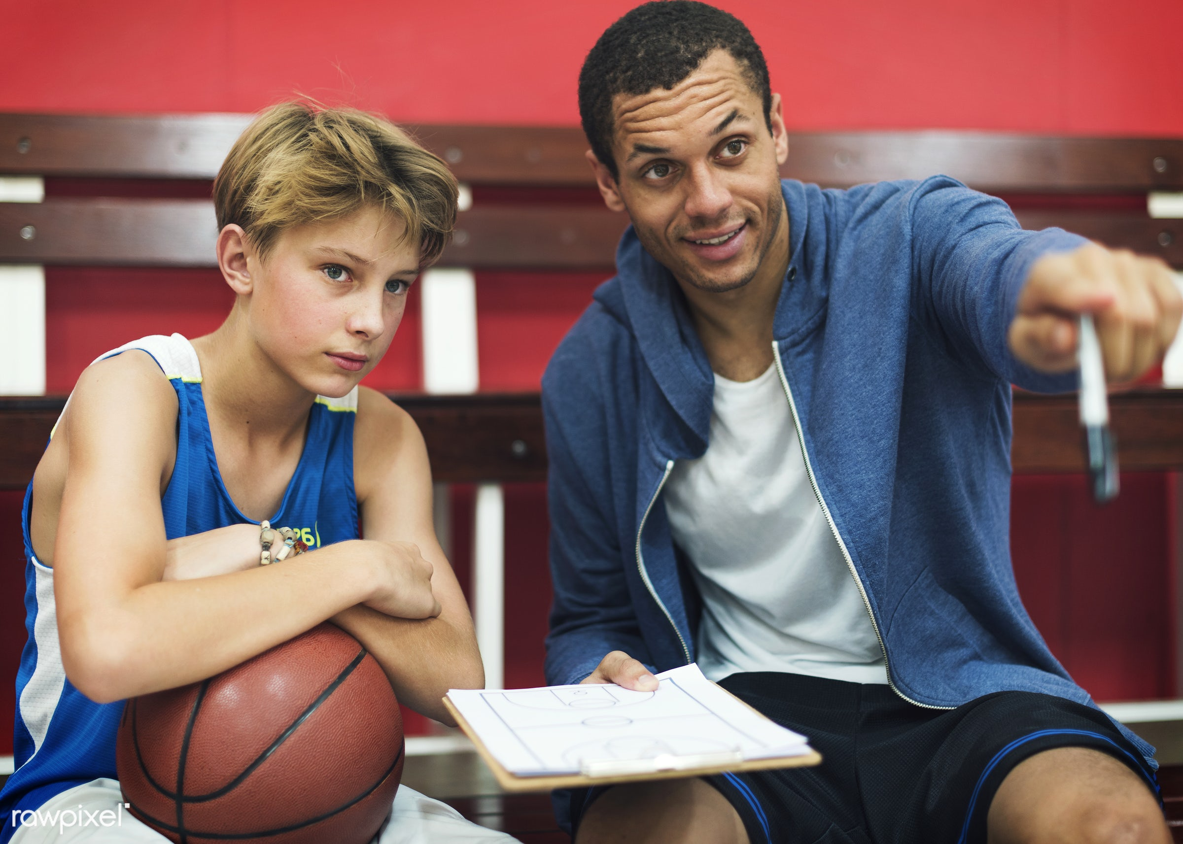 coach, activity, alone, basketball, board, boy, caucasian, coaching, exercise, game, gymnasium, man, one, paper, plan, play...