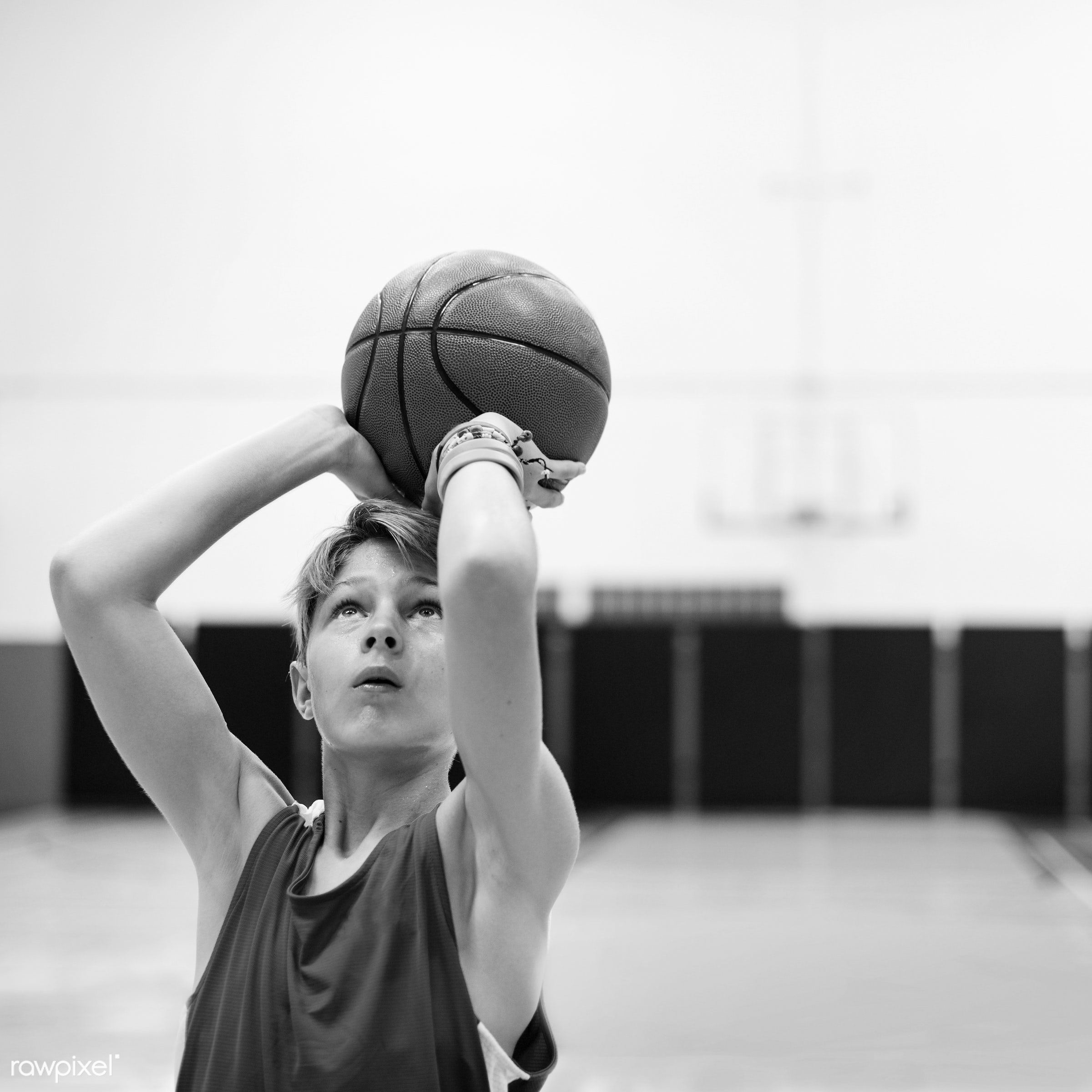 Young basketball player shoot - basketball, activity, aim, alone, boy, court, exercise, game, gym, man, one, play, player,...