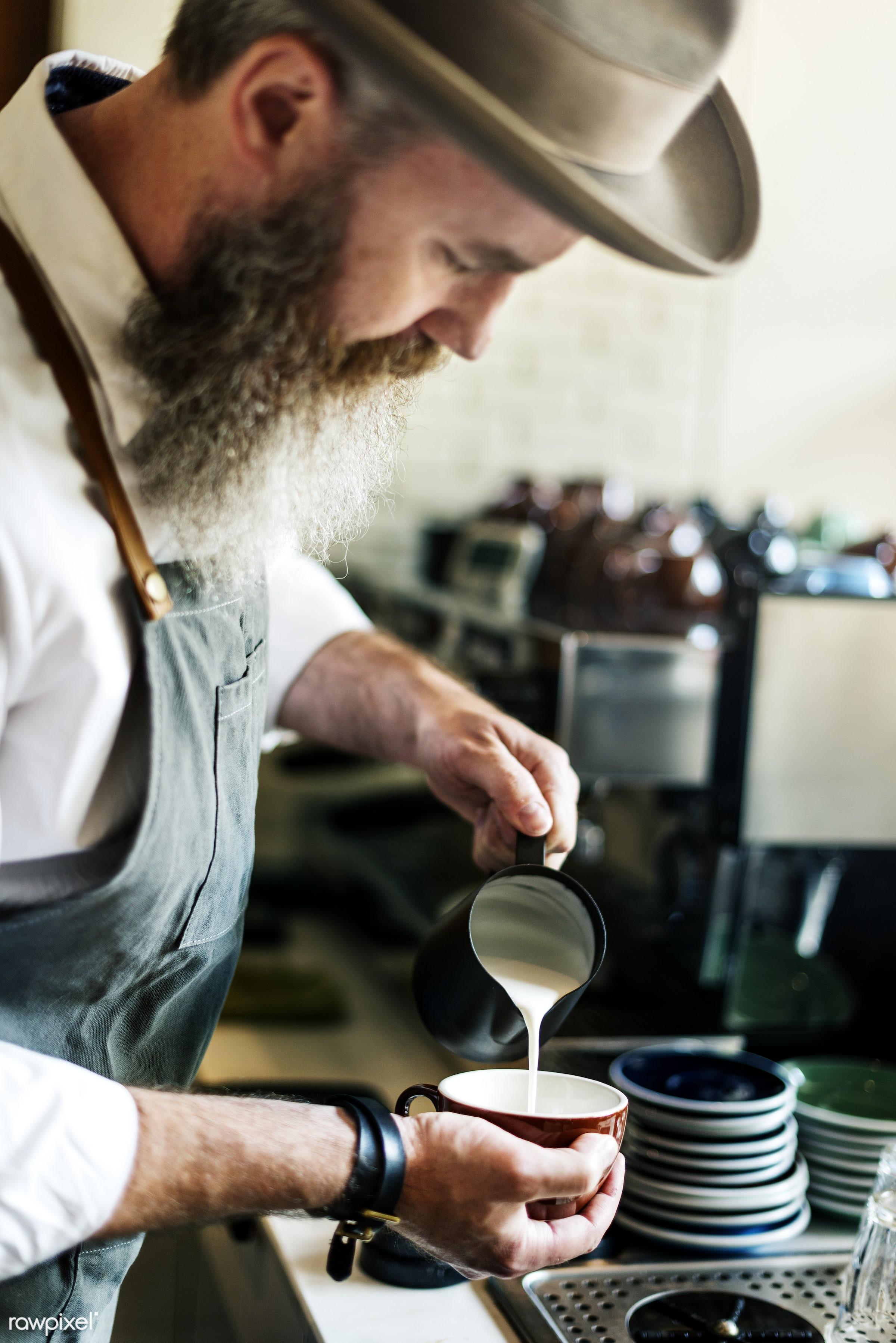 Barista is making coffee - alone, barista, beverage, career, caucasian, closeup, coffee, coffee shop, cups, drink, hands,...