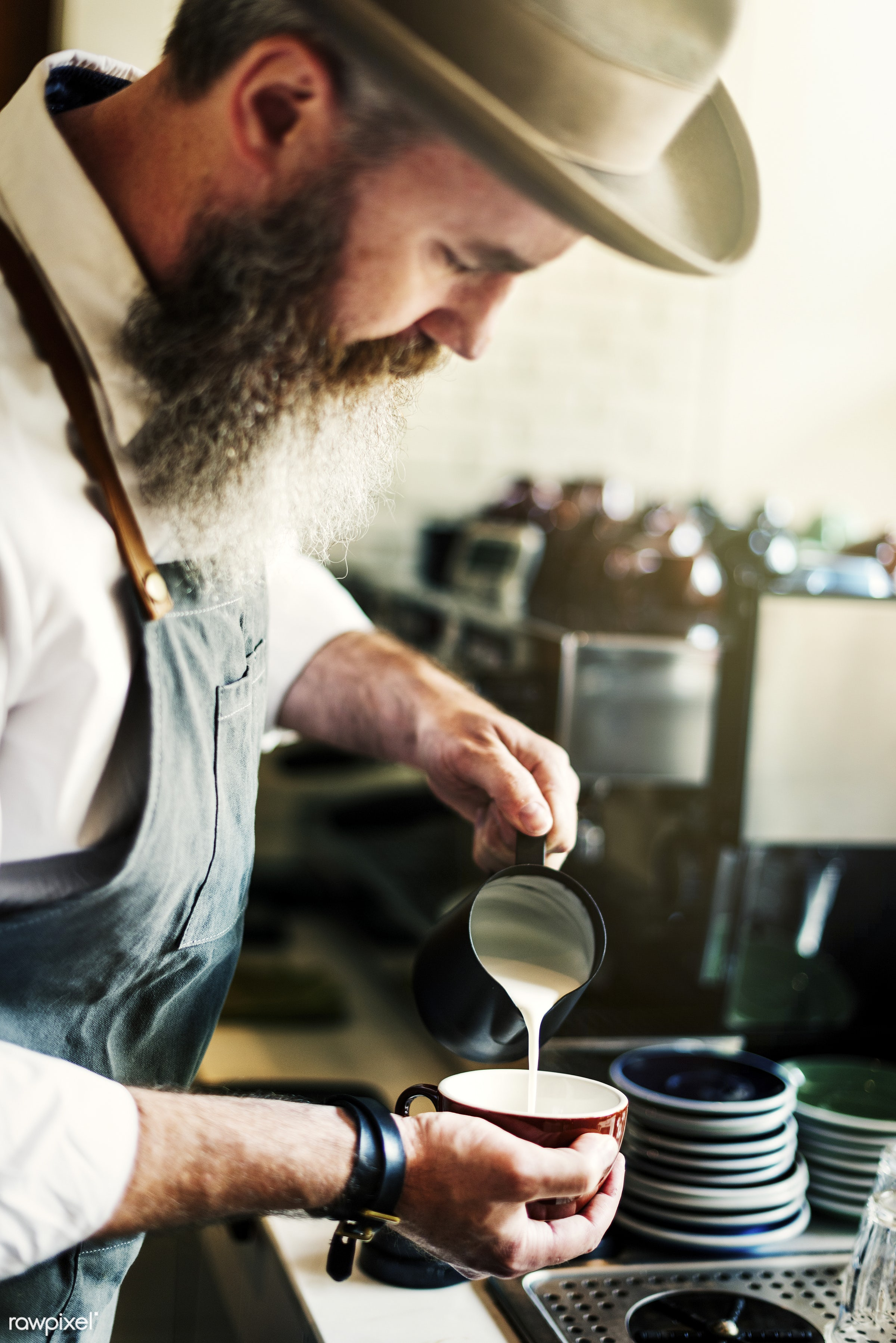 apron, barista, business, cafe, coffee, coffee mill, coffee shop, cup, day, drink, employee, employer, hand, holding,...