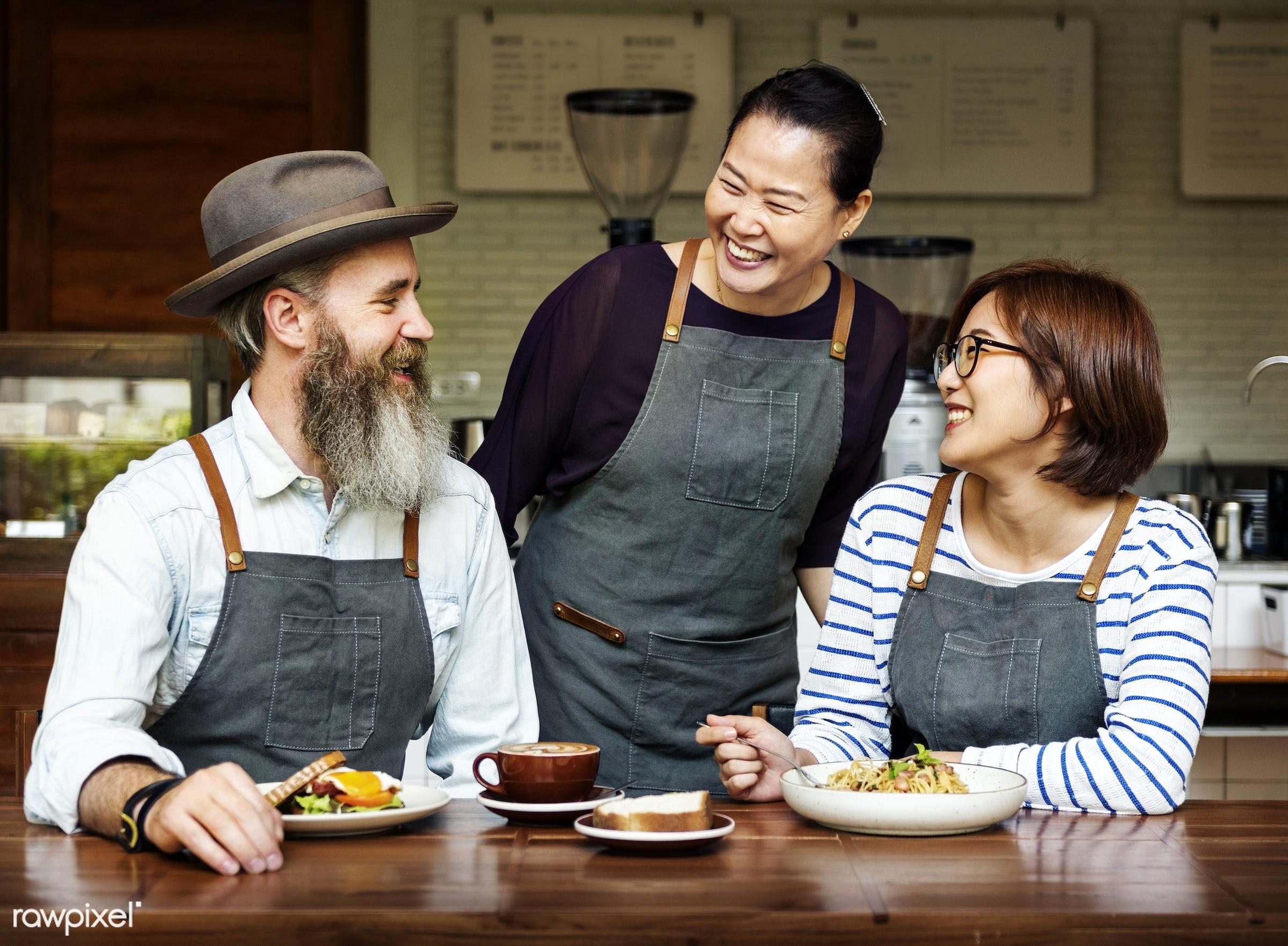 Barista team at coffee shop - work, apron, asian, barista, beverage, break, breakfast, career, cheerful, coffee, coffee shop...