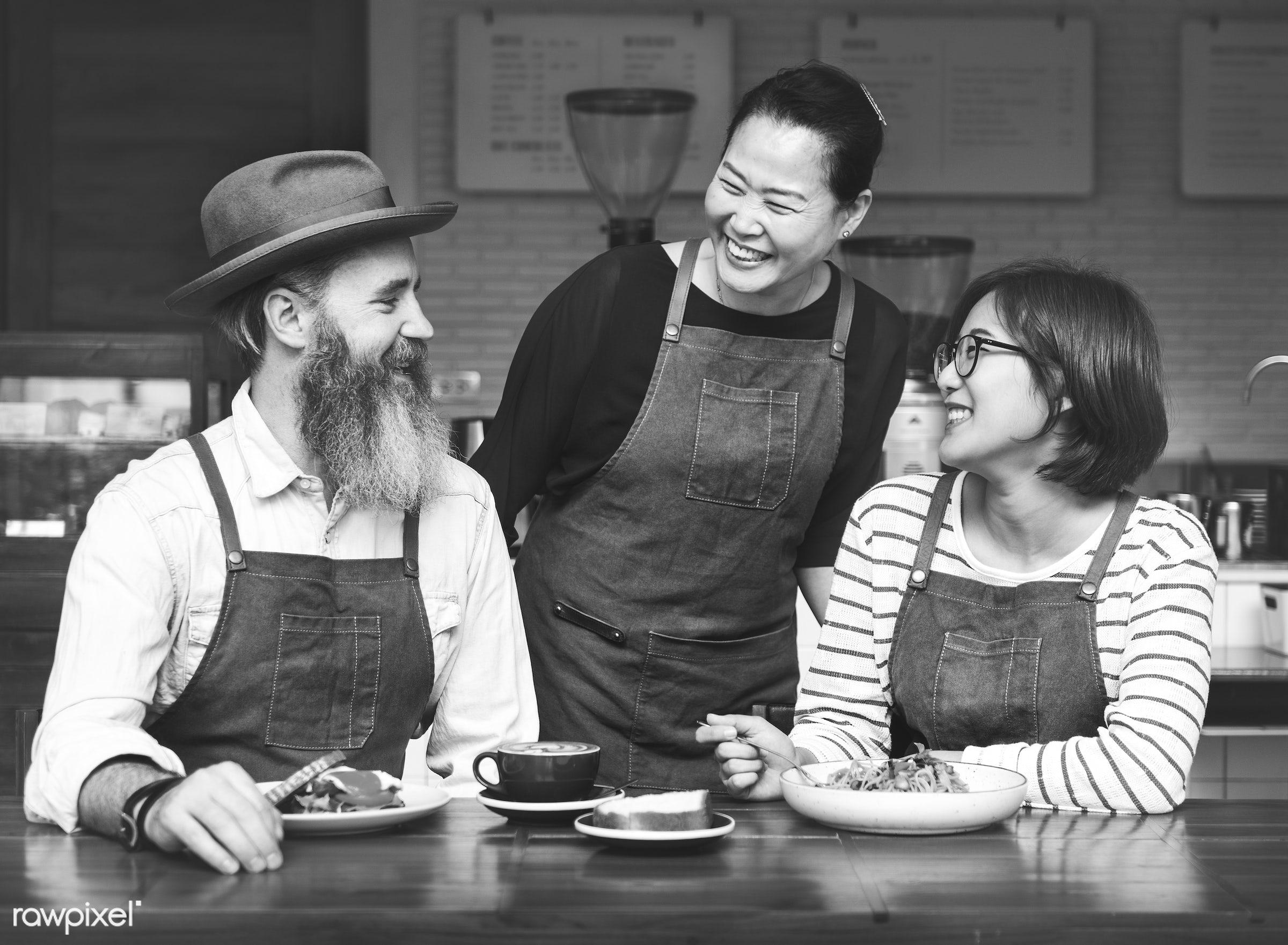 apron, asian ethnicity, beverage, bistro, break, breakfast, brunch, cafe, casual, cheerful, coffee, coffee break, coffee...