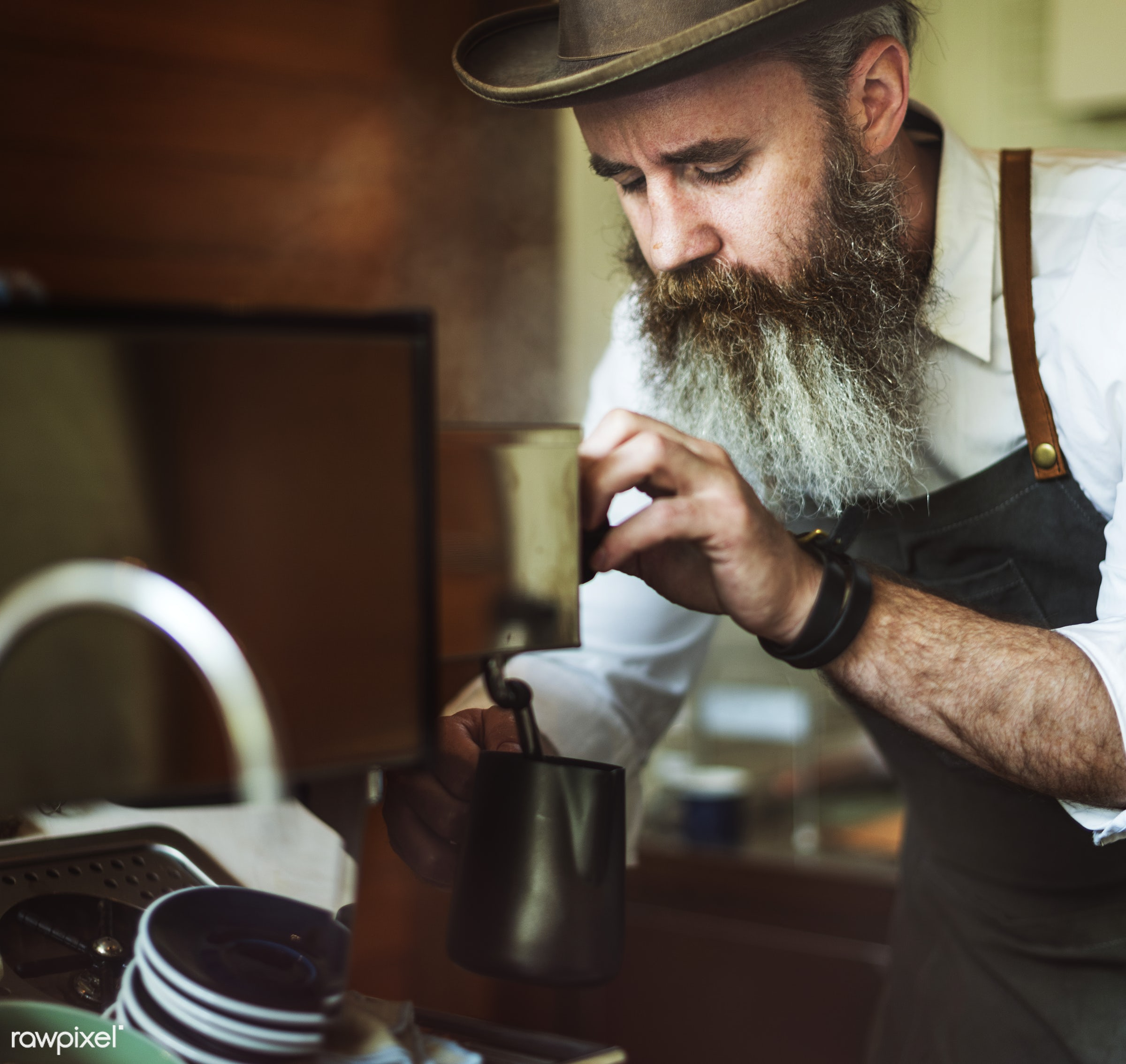 appliance, apron, bar, barista, bearded, business, cafe, cafeteria, coffee, coffee mill, coffee shop, counter, cup, day,...