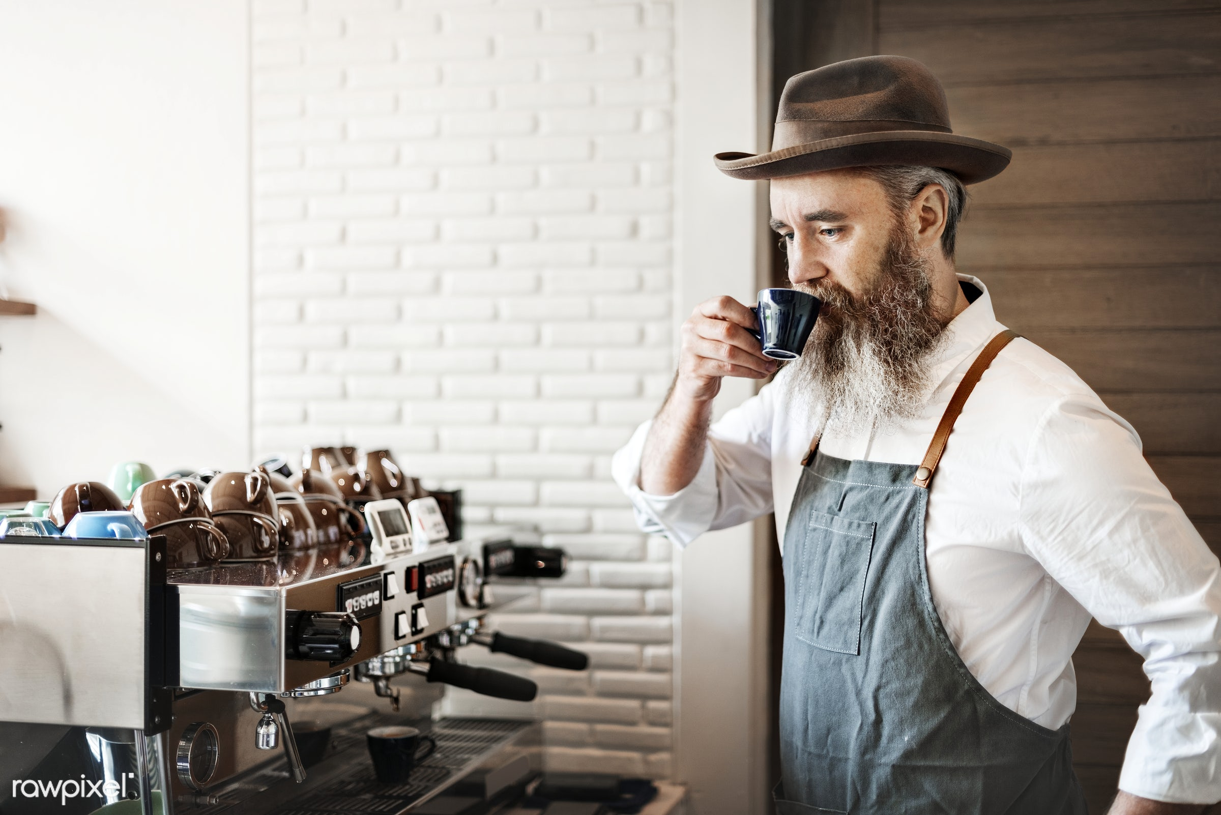 fashion, apron, attractive, bar, barista, beard, beverage, brunette, business, cafe, cafeteria, casual, coffee, coffee...